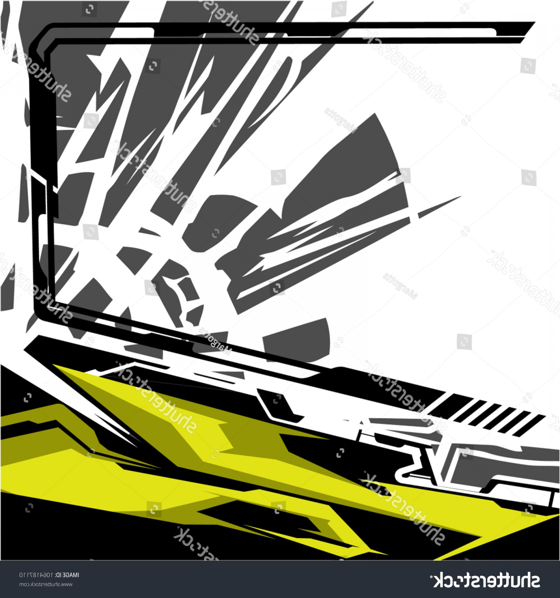 Black And White Vector Racing Graphics: Modern Tech Shape Background Vector Racing