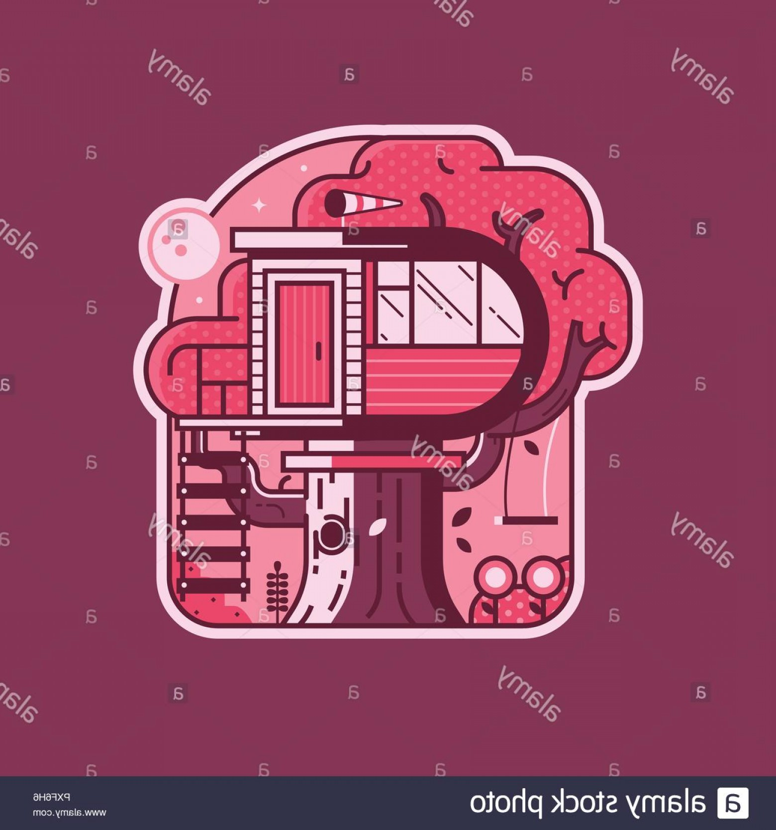 Vector Modern Tree House: Modern Wooden Tree House Cabin Sticker Image