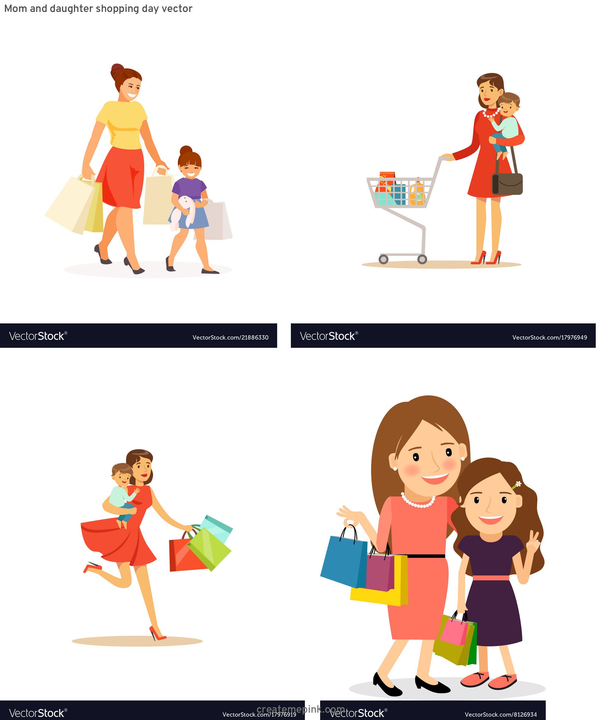 Shopping Vector Of Mom: Mom And Daughter Shopping Day Vector