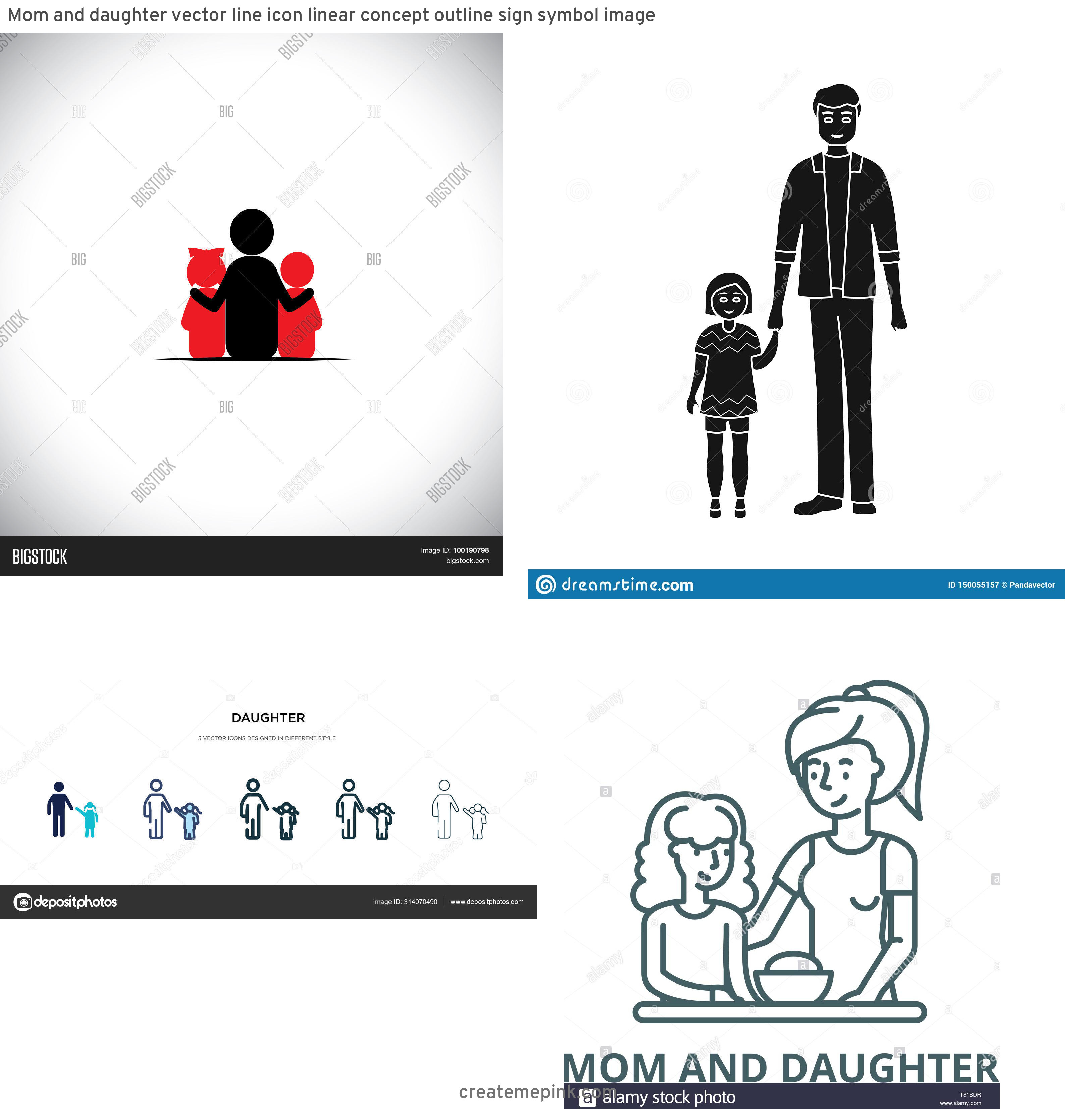 Daughter Vector Icons: Mom And Daughter Vector Line Icon Linear Concept Outline Sign Symbol Image