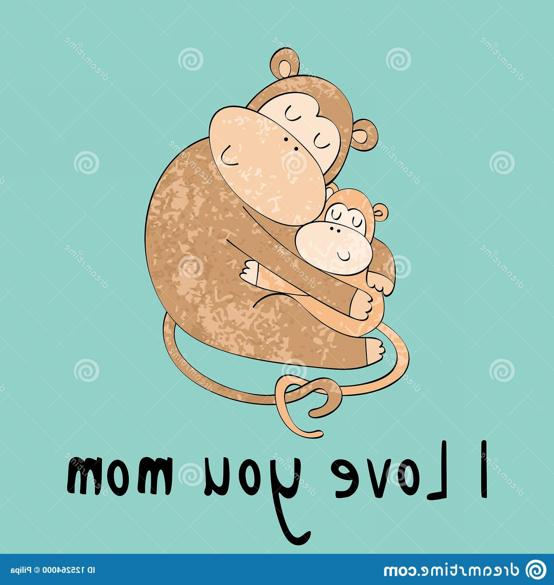 Sitting Monkey Vector Baby Shower: Mom Baby Shower Cards Vector Monkey Image