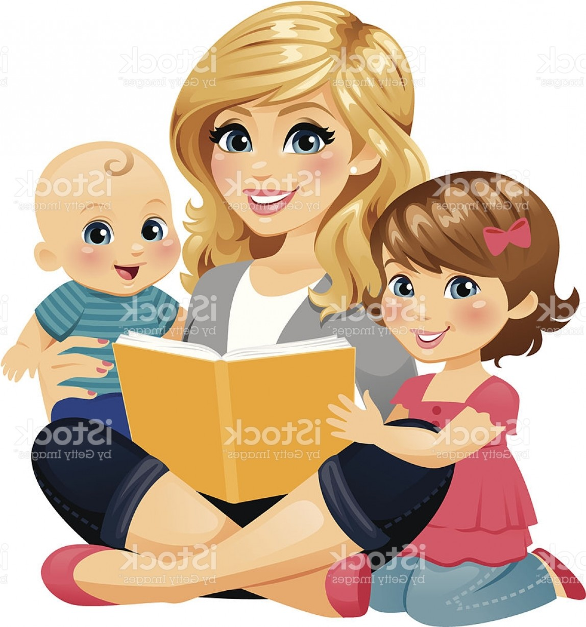 Babysitting In Diapers Vector Black: Mom Reading With Children Gm