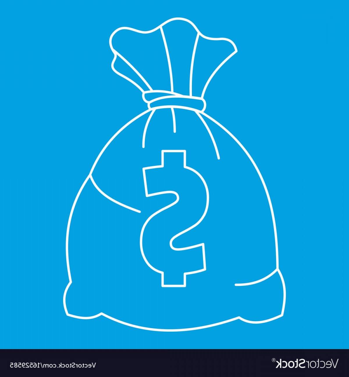Blue Dollar Sign Vector: Money Bag With Us Dollar Sign Icon Outline Style Vector