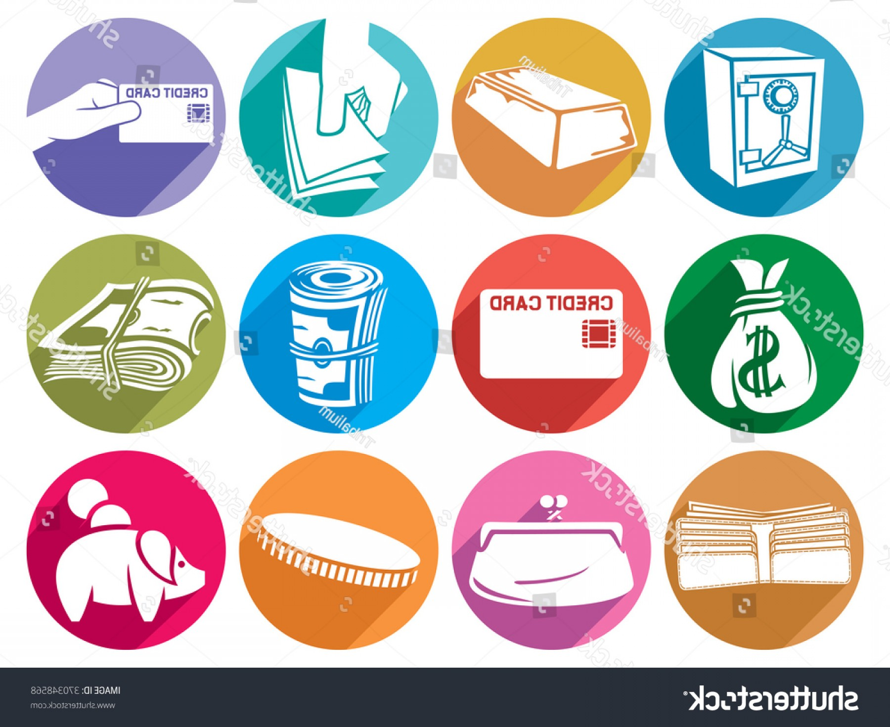 Credit Card Logos Vector: Money Flat Icons Set Bag Stack