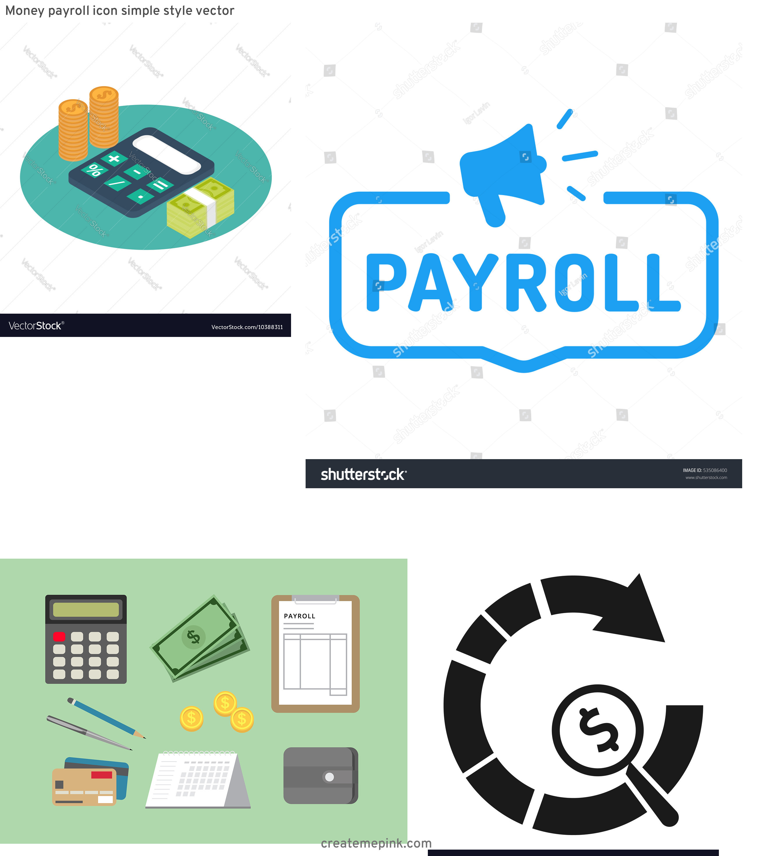 Payroll Icon Vector: Money Payroll Icon Simple Style Vector