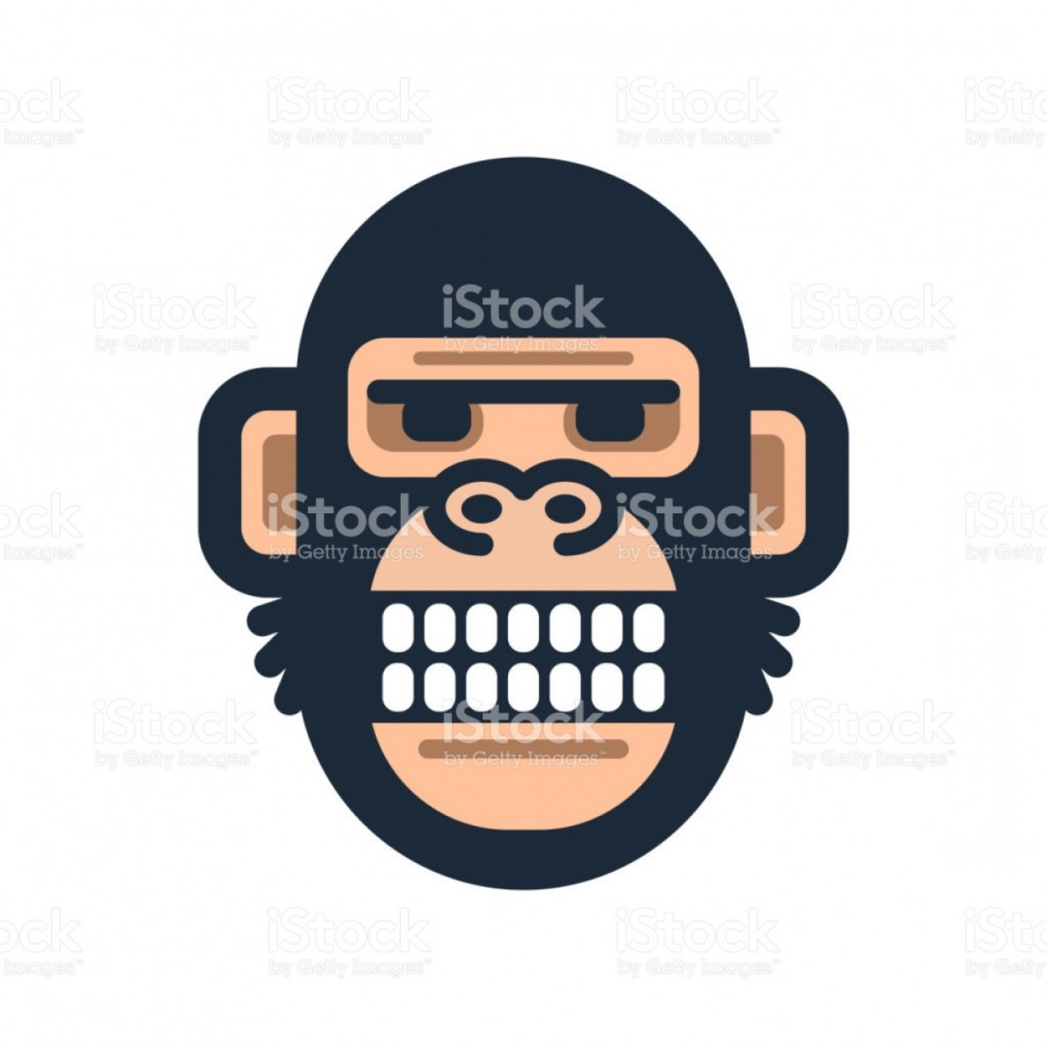 GM Logo Vector: Monkey Icon Symbol Vector Simple Gorilla Head Logo Gm