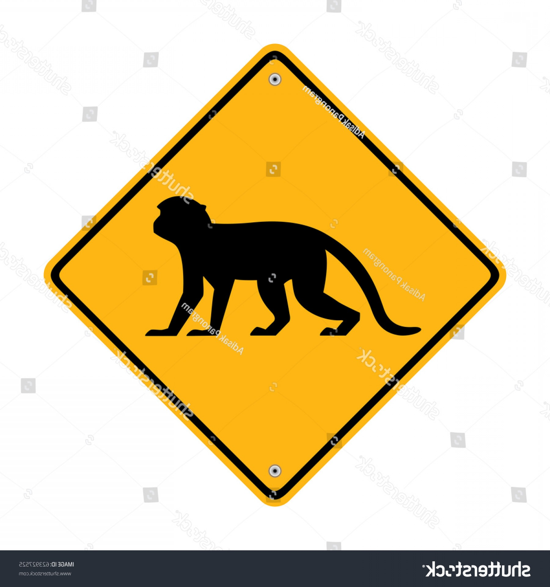 Road Sign Silhouette Vector Bear: Monkey Sign Road Symbol Illustration
