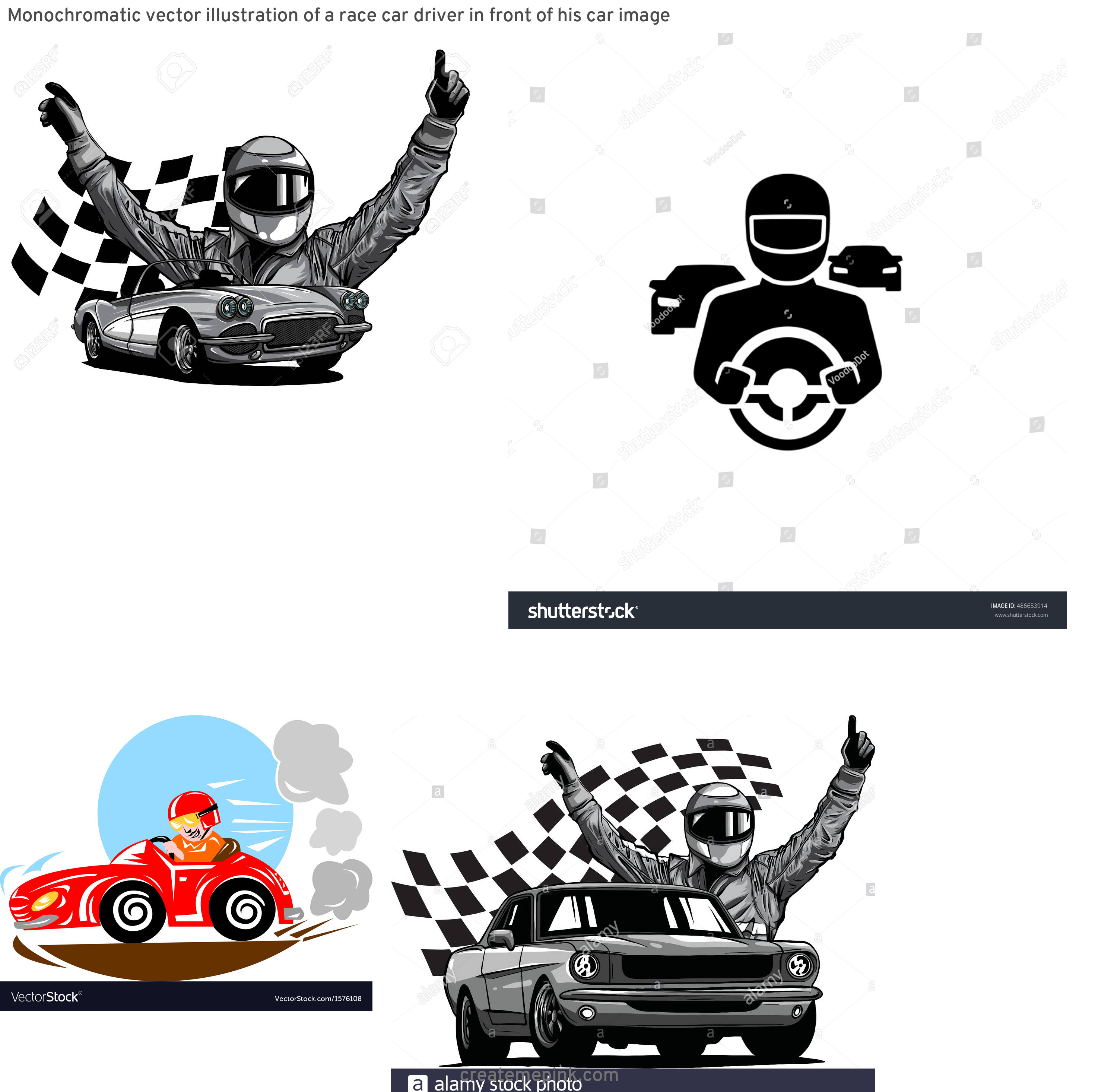Vector Race Driver: Monochromatic Vector Illustration Of A Race Car Driver In Front Of His Car Image