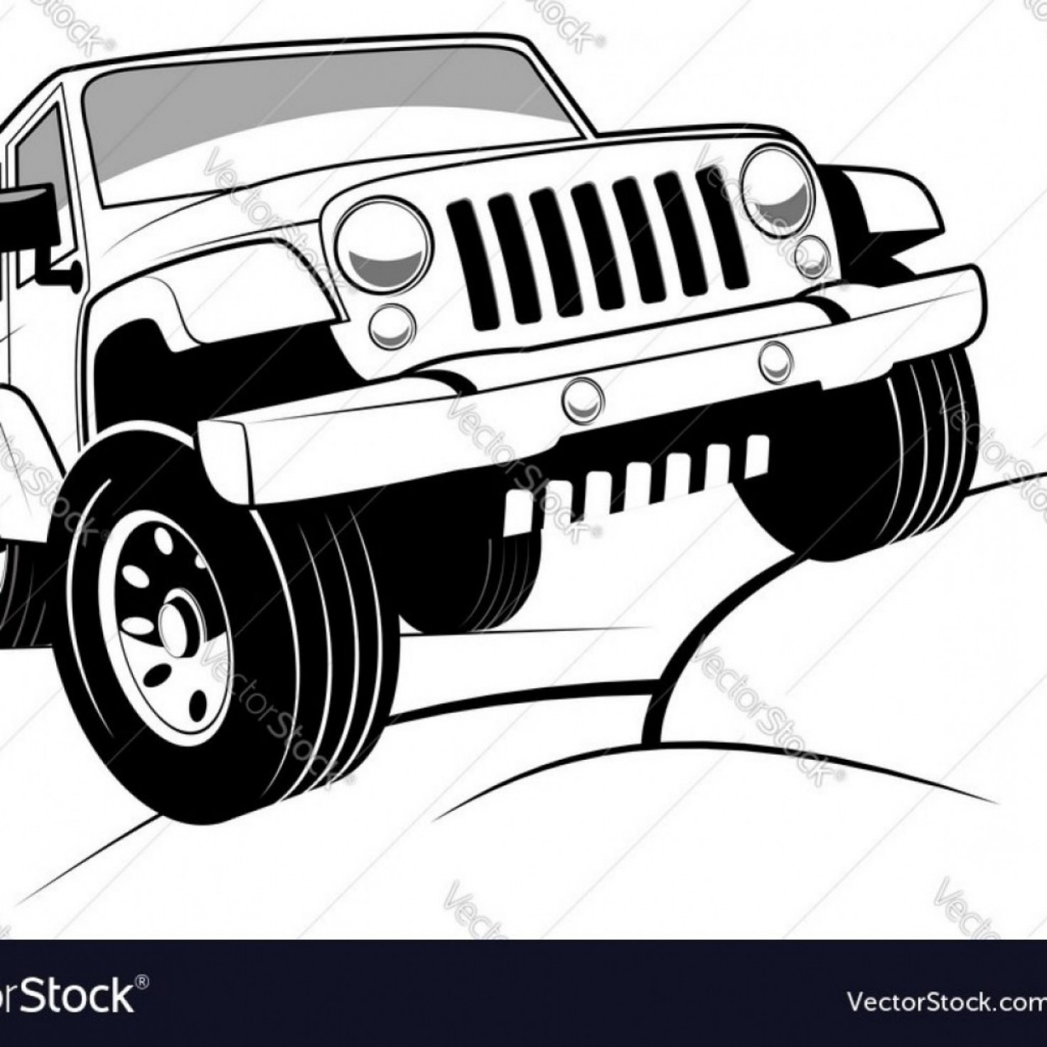 2014 Jeep Wrangler Vector: Monochrome Detailed Cartoon Off Road Jeep Vector Image Intended For Jeep Wrangler Vector