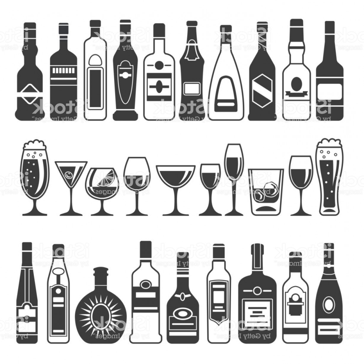 Booze Bottle Vector: Monochrome Illustrations Of Black Pictures Of Alcoholic Bottles Vector Illustrations Gm
