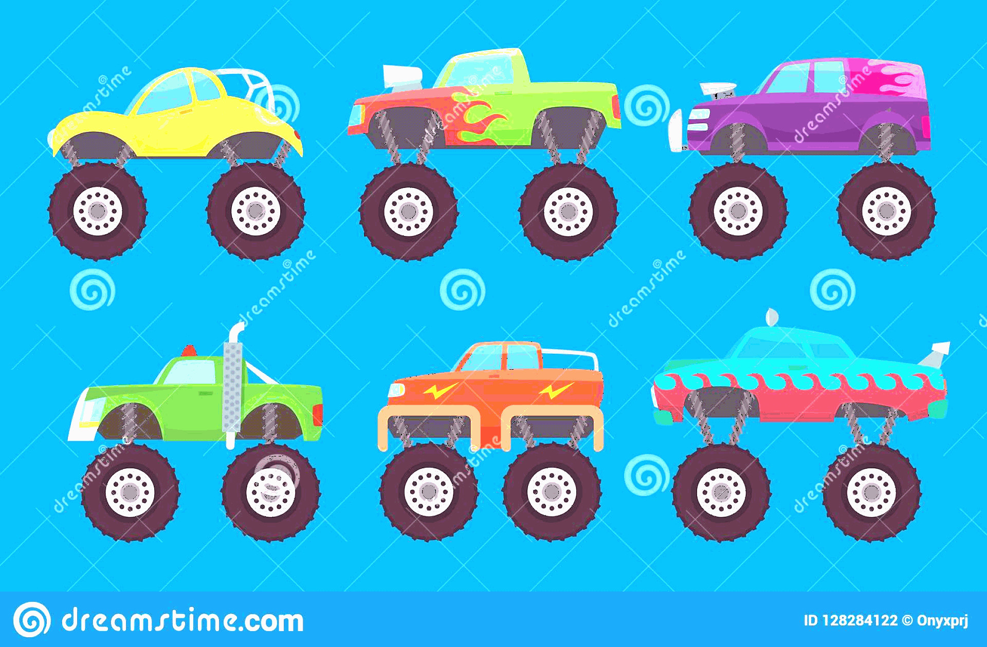 Monster Truck Tires Vector: Monster Truck Cars Automobiles Big Wheels Creature Auto Toy Kids Vector Pictures Isolated Illustration Car Model Image