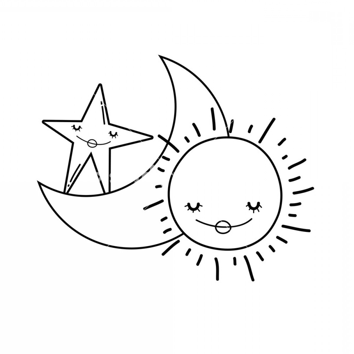 Smile Vector Art: Moon And Sun Smiling With Star Cute Cartoons Vector Illustration Graphic Design Hqjhfbhqjnqlqyn