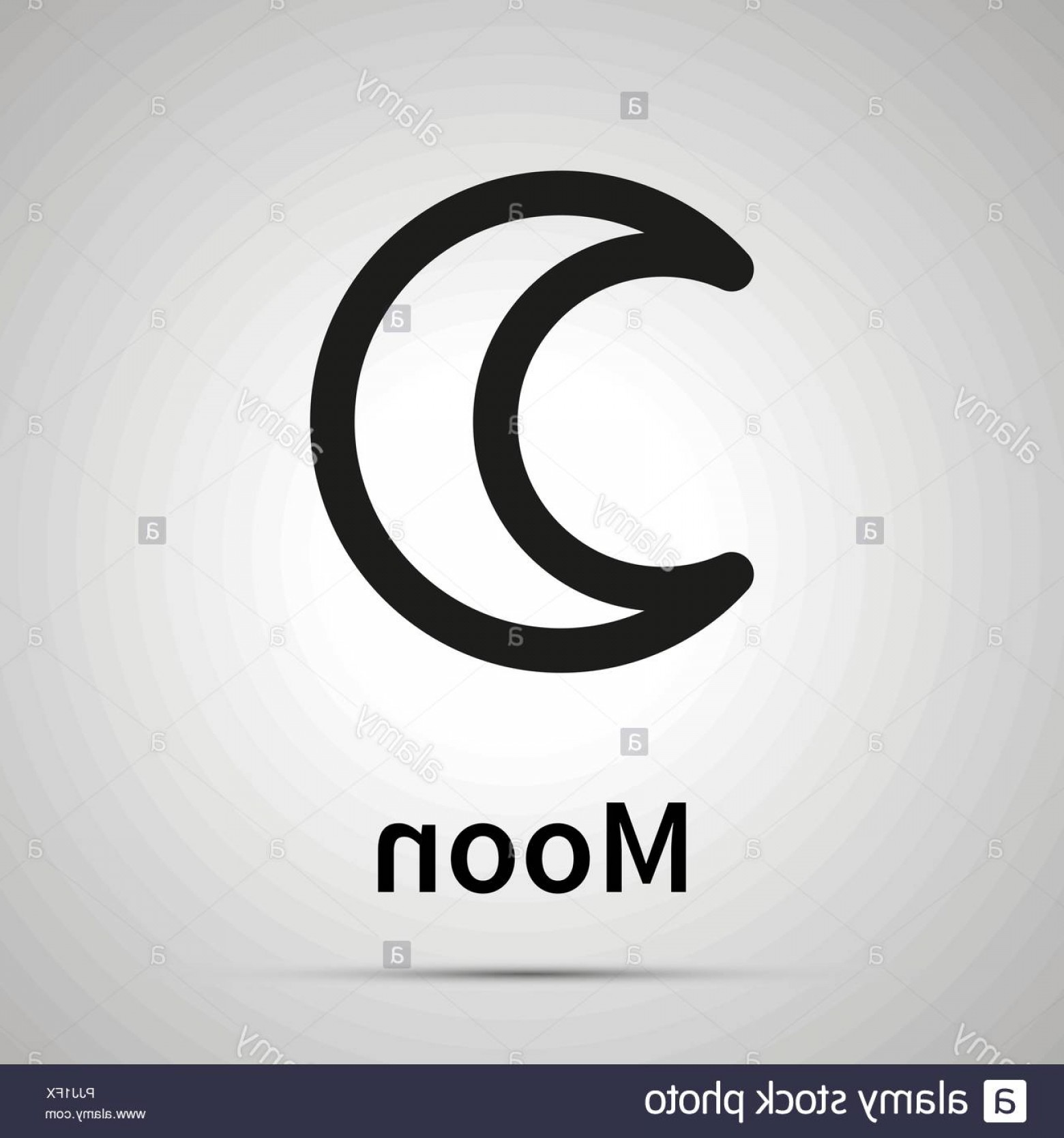 Simple Moon Vector Art: Moon Astronomical Sign Simple Black Icon With Shadow Image