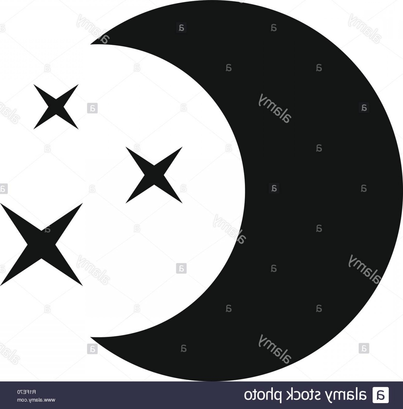 Simple Moon Vector Art: Moon Night Icon Simple Illustration Of Moon Night Vector Icon For Web Image