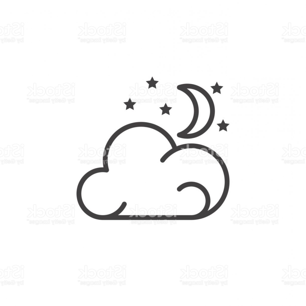 Cloud Outline Vector Black And White: Moon Stars Cloud Line Icon Outline Vector Sign Linear Pictogram Isolated On White Gm