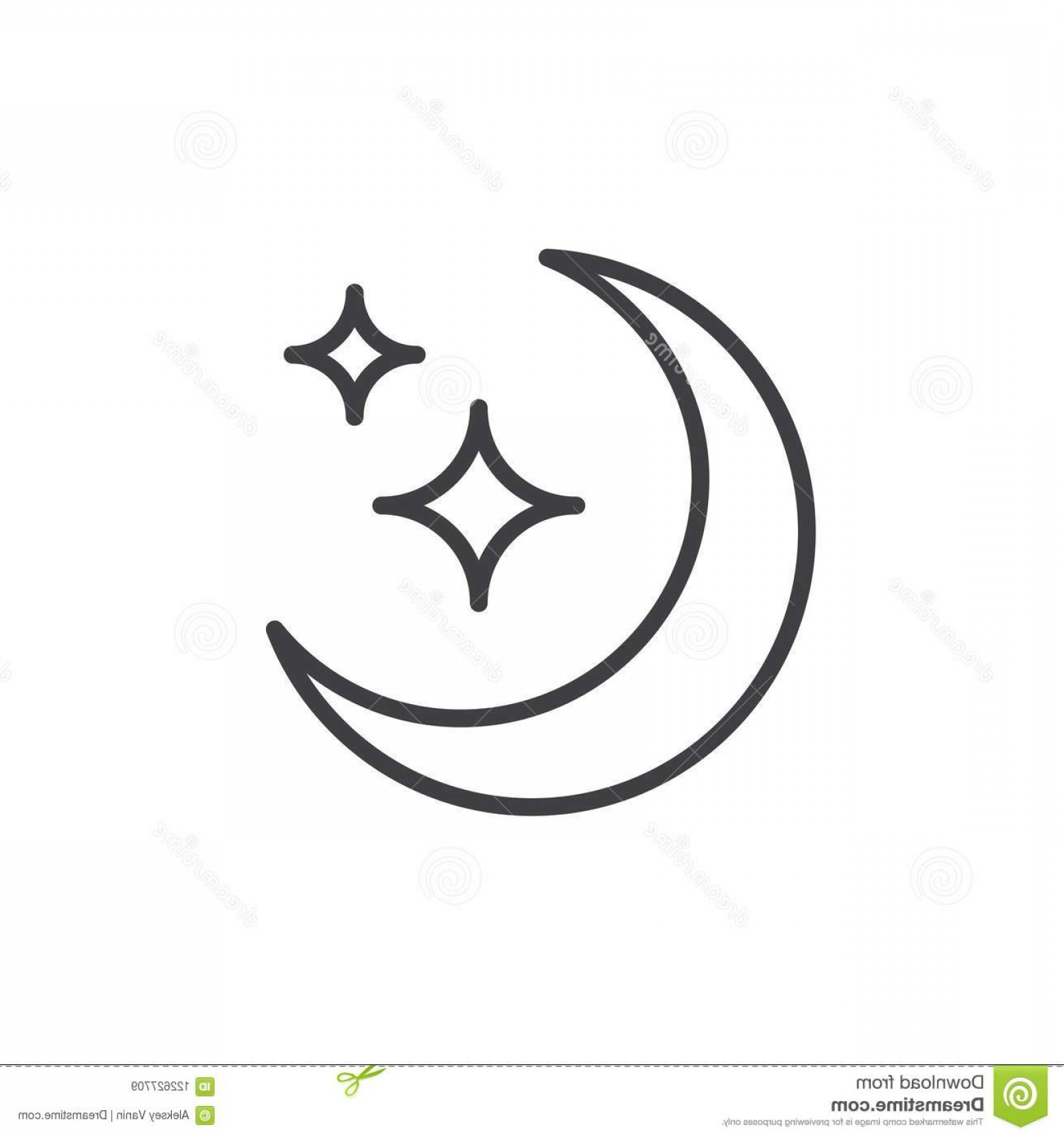 Simple Moon Vector Art: Moon Stars Outline Icon Linear Style Sign Mobile Concept Web Design Crescent Star Simple Line Vector Icon Night Image