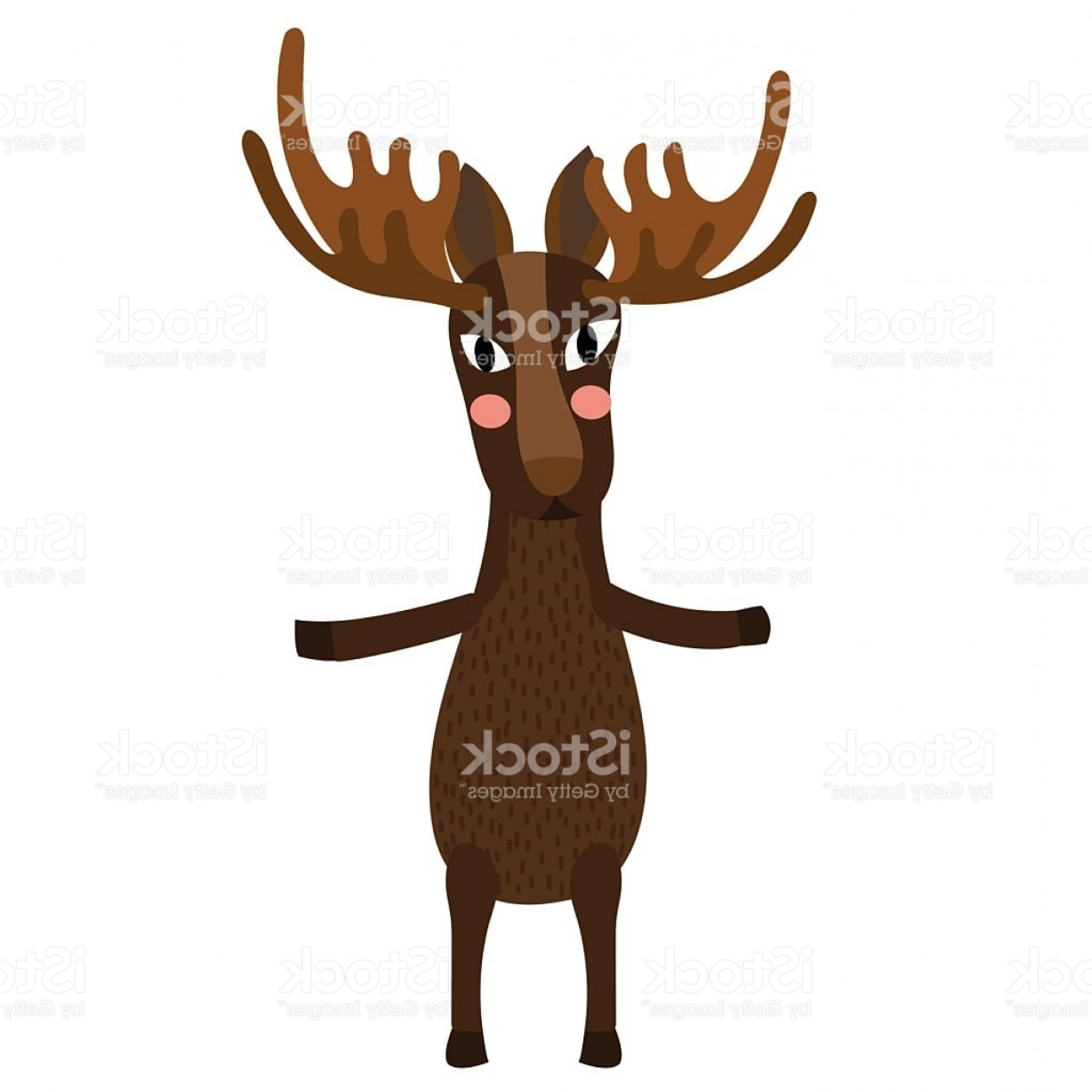 Alaska Moose Vectors: Moose Standing On Two Legs Animal Cartoon Character Vector Illustration Gm