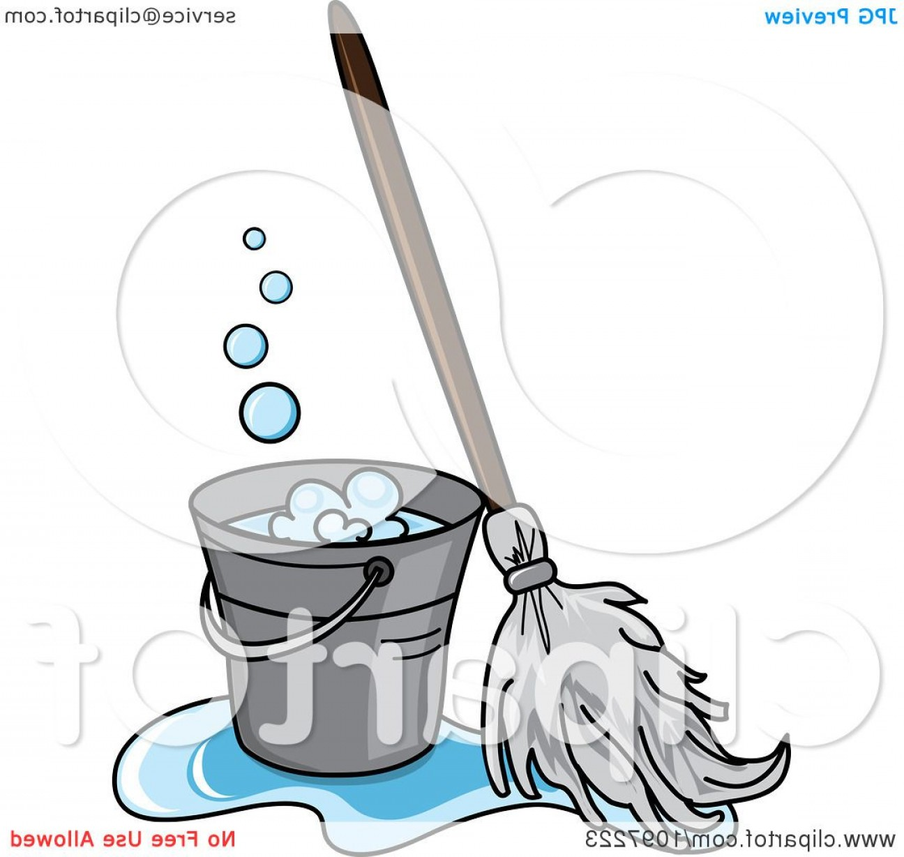 Mop And Bucket Clip Art Vector: Mop In A Puddle Resting Against A Cleaning Bucket