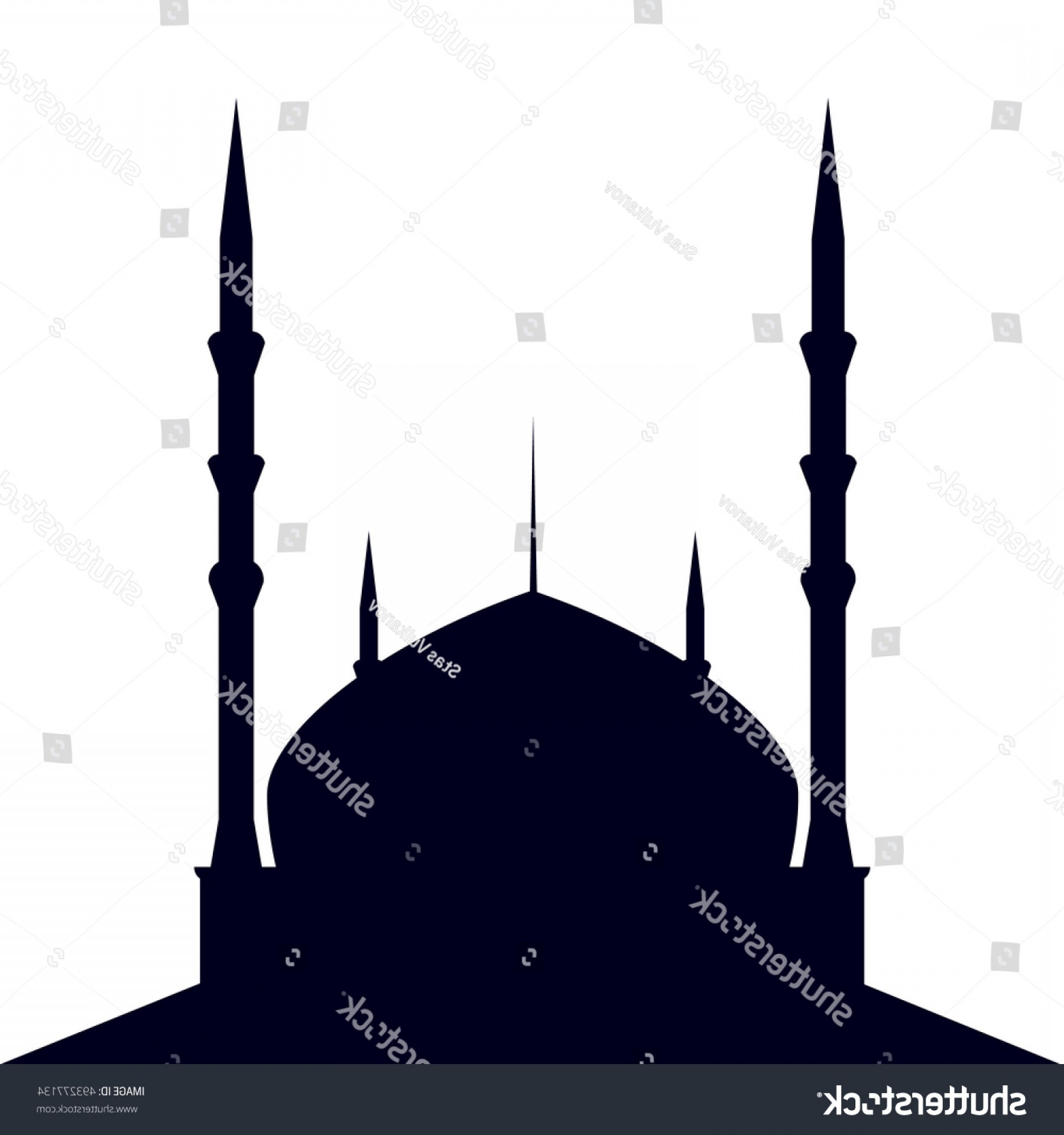 Vector Holy Shrine: Mosque Silhouette On White Background Vector