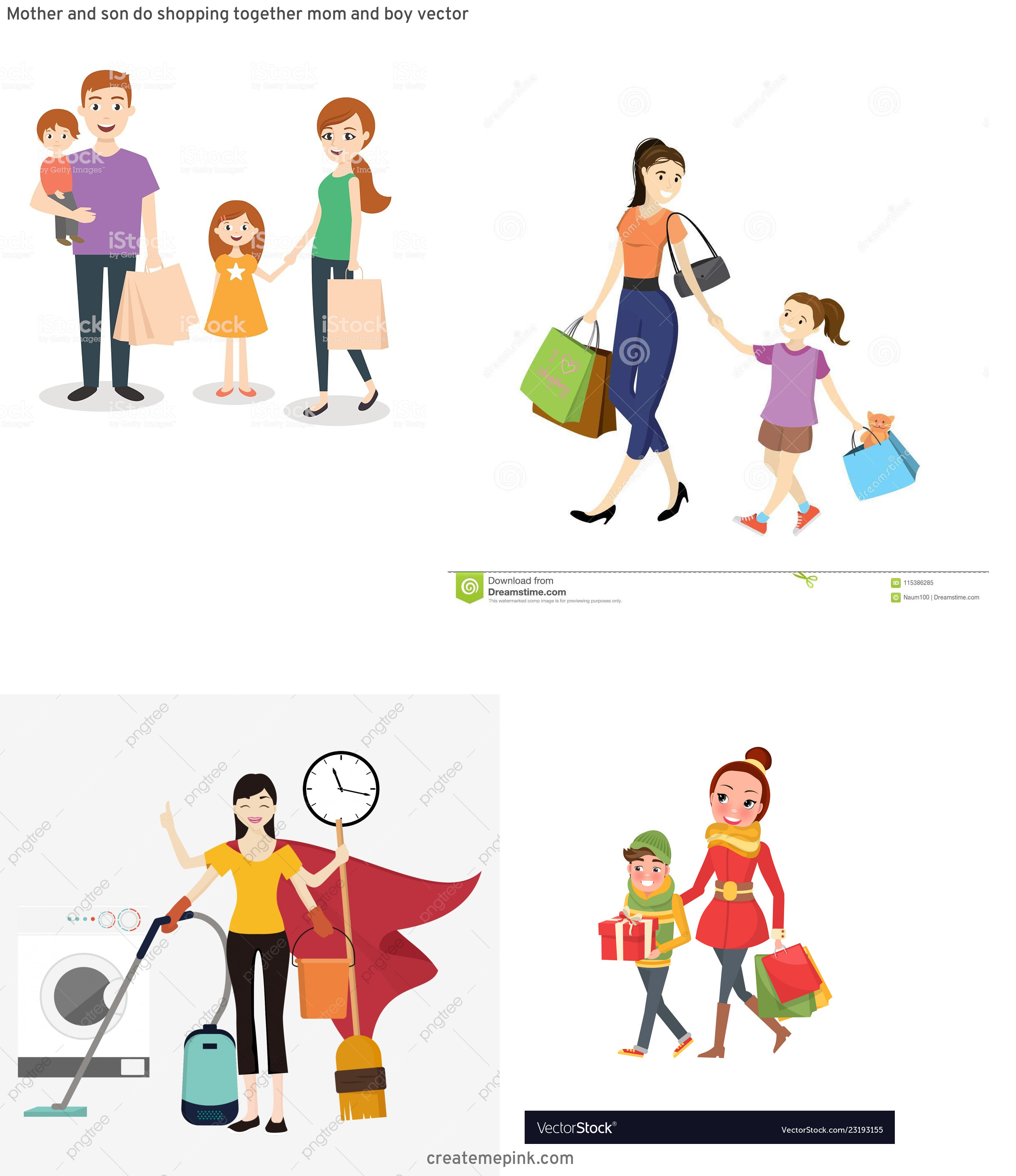 Shopping Vector Of Mom: Mother And Son Do Shopping Together Mom And Boy Vector
