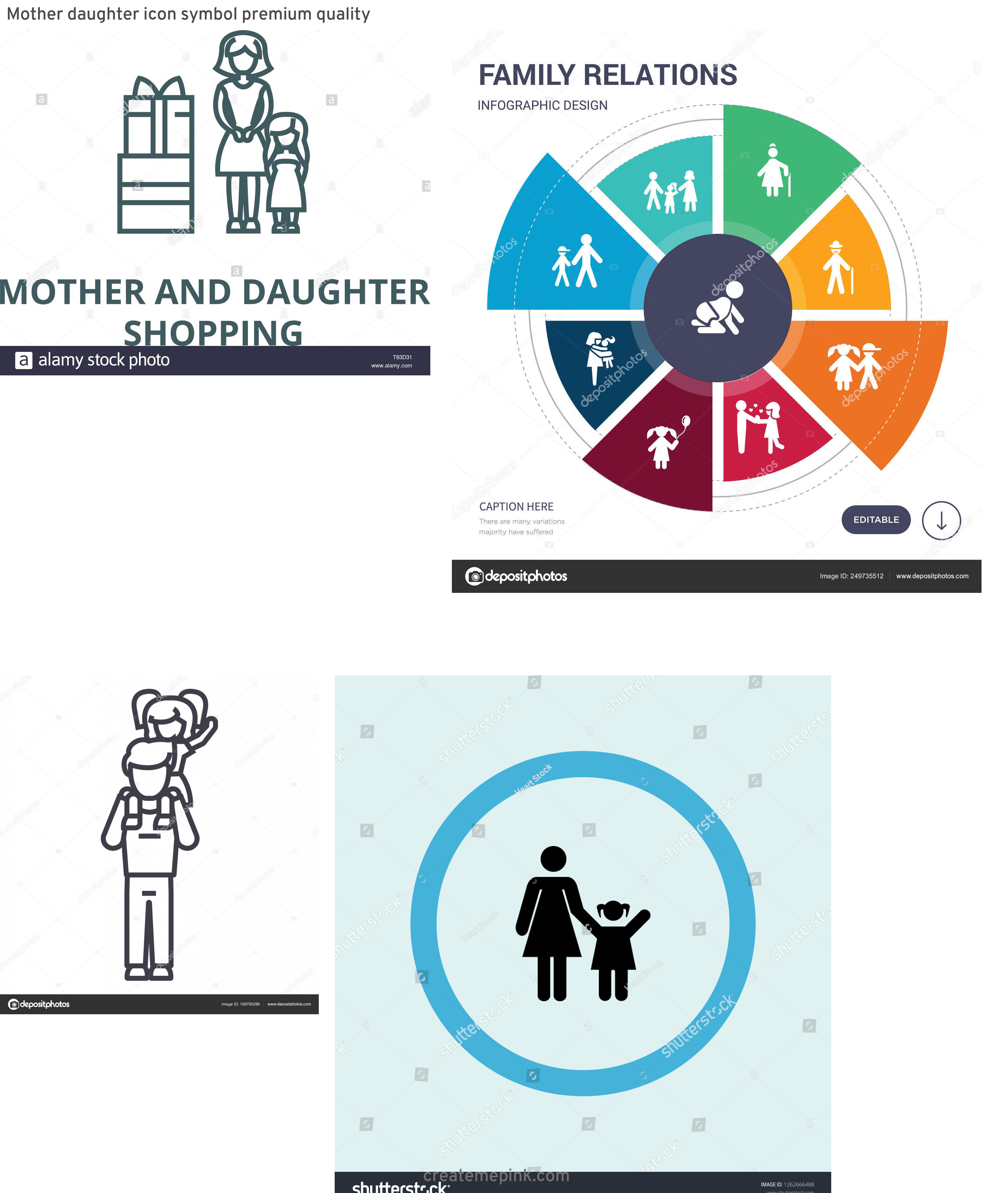 Daughter Vector Icons: Mother Daughter Icon Symbol Premium Quality