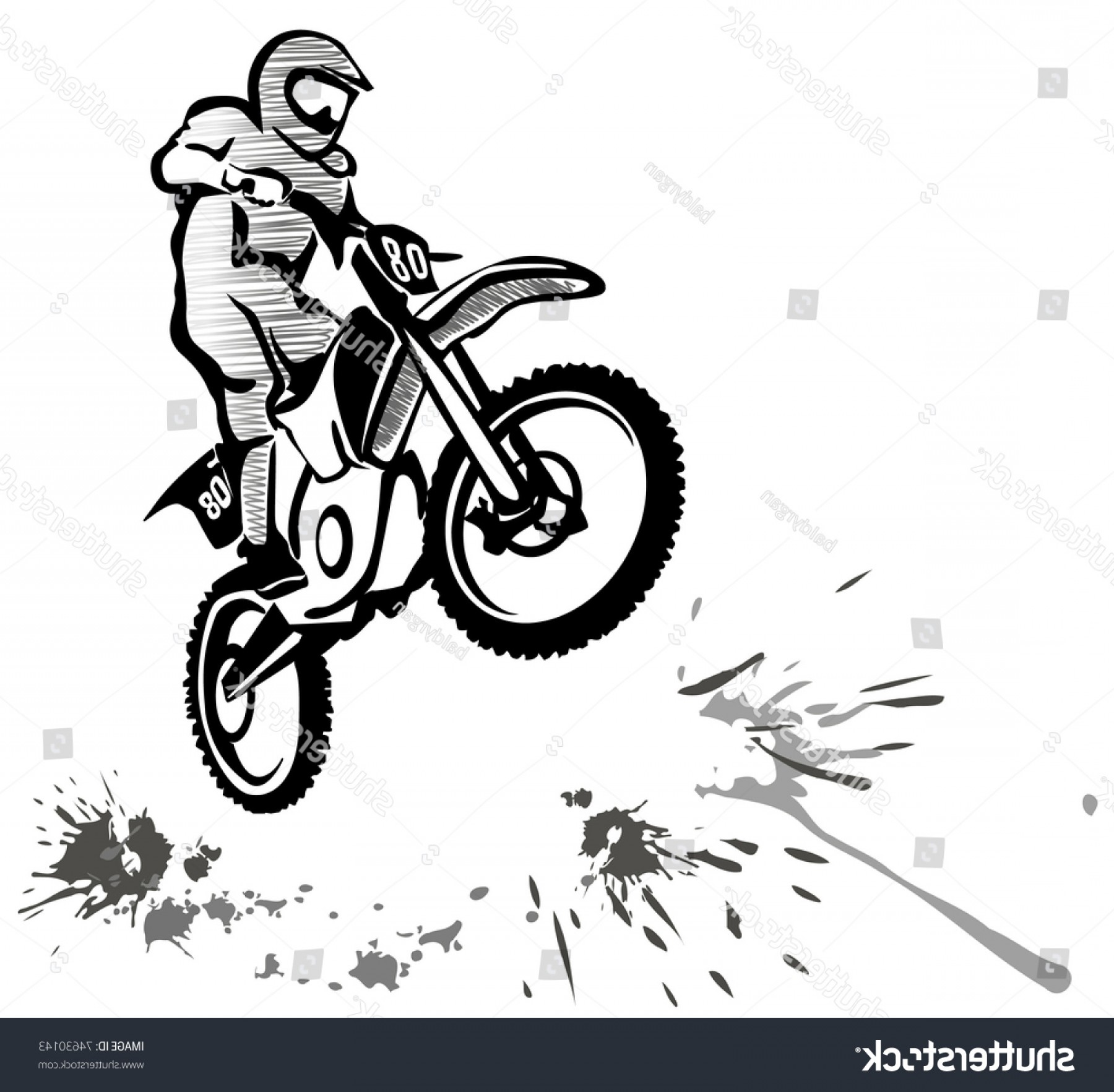 Dirt Bike Gas Can Vector: Motocross Hand Drawn Illustration Grunge Style