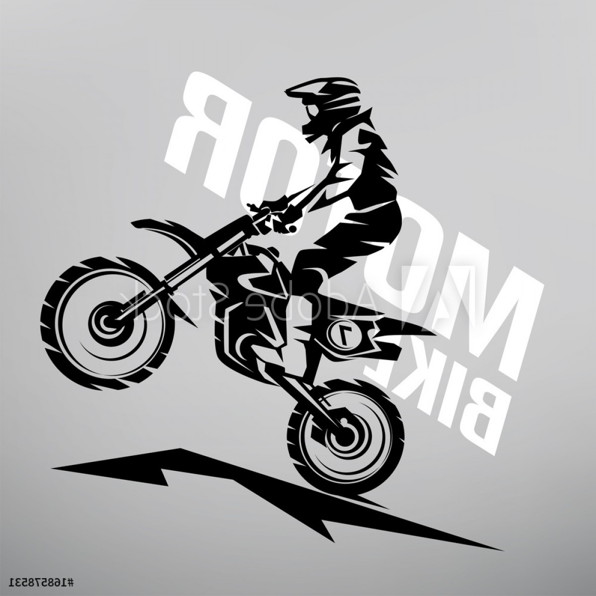 Motocross Number Plate Vector Art: Motocross Stylized Vector Symbol Design Elements For Logo Template F