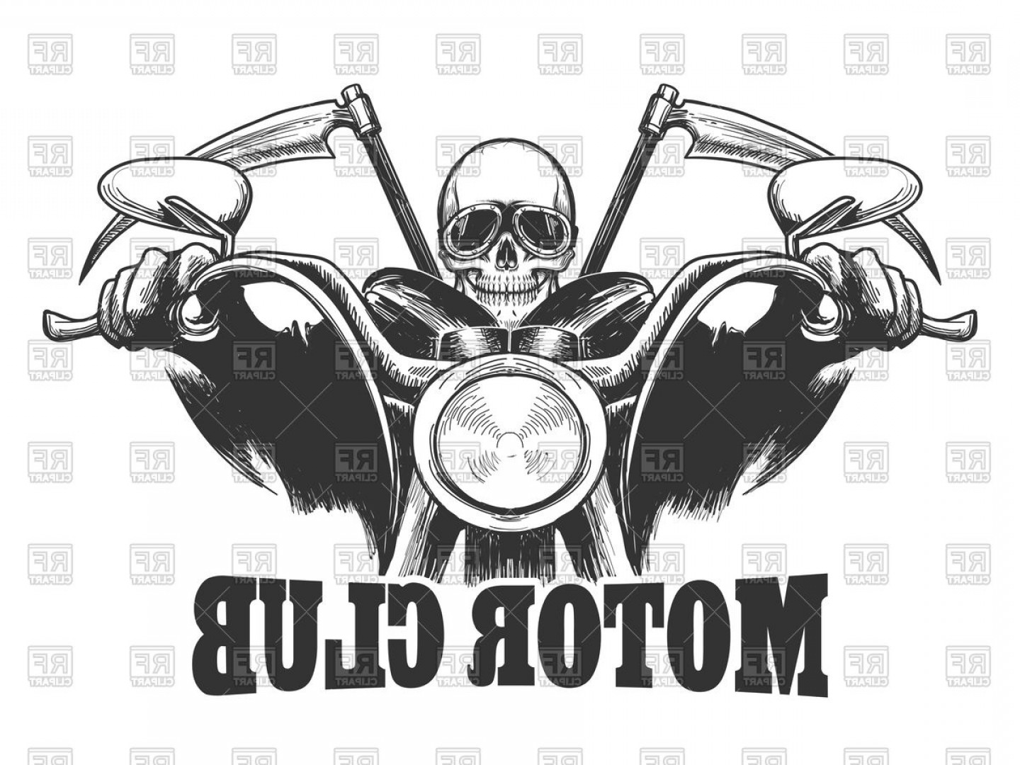 Motor Vector Graphics: Motor Club Emblem Skeleton In Glasses On Motorcycle Vector Clipart