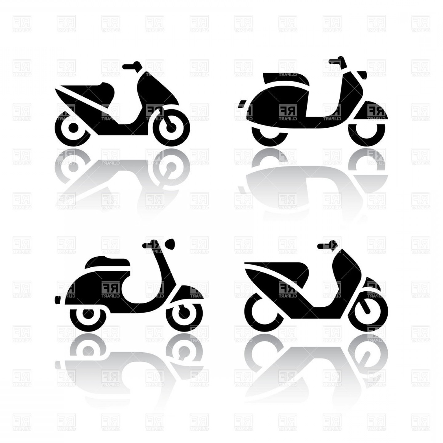 Motor Vector Graphics: Motorbike Motor Scooter And Moped Two Wheeled Transportation Icons Vector Clipart