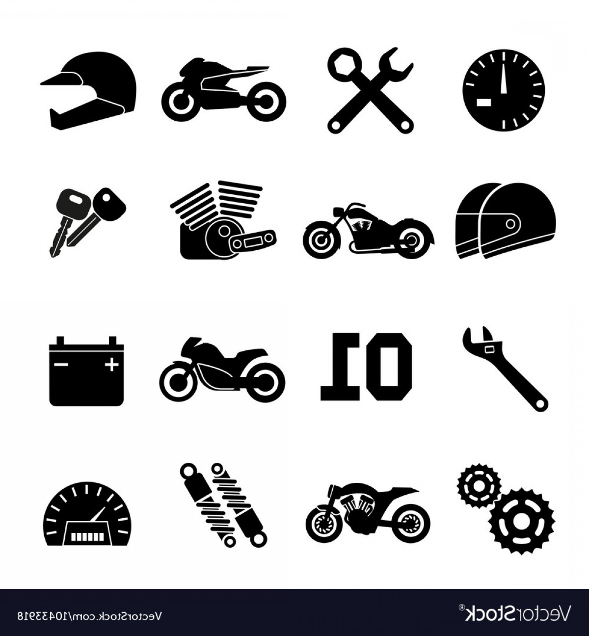 Stylized Vector Motorcycle: Motorbike Motorcycle Race And Spare Parts Vector