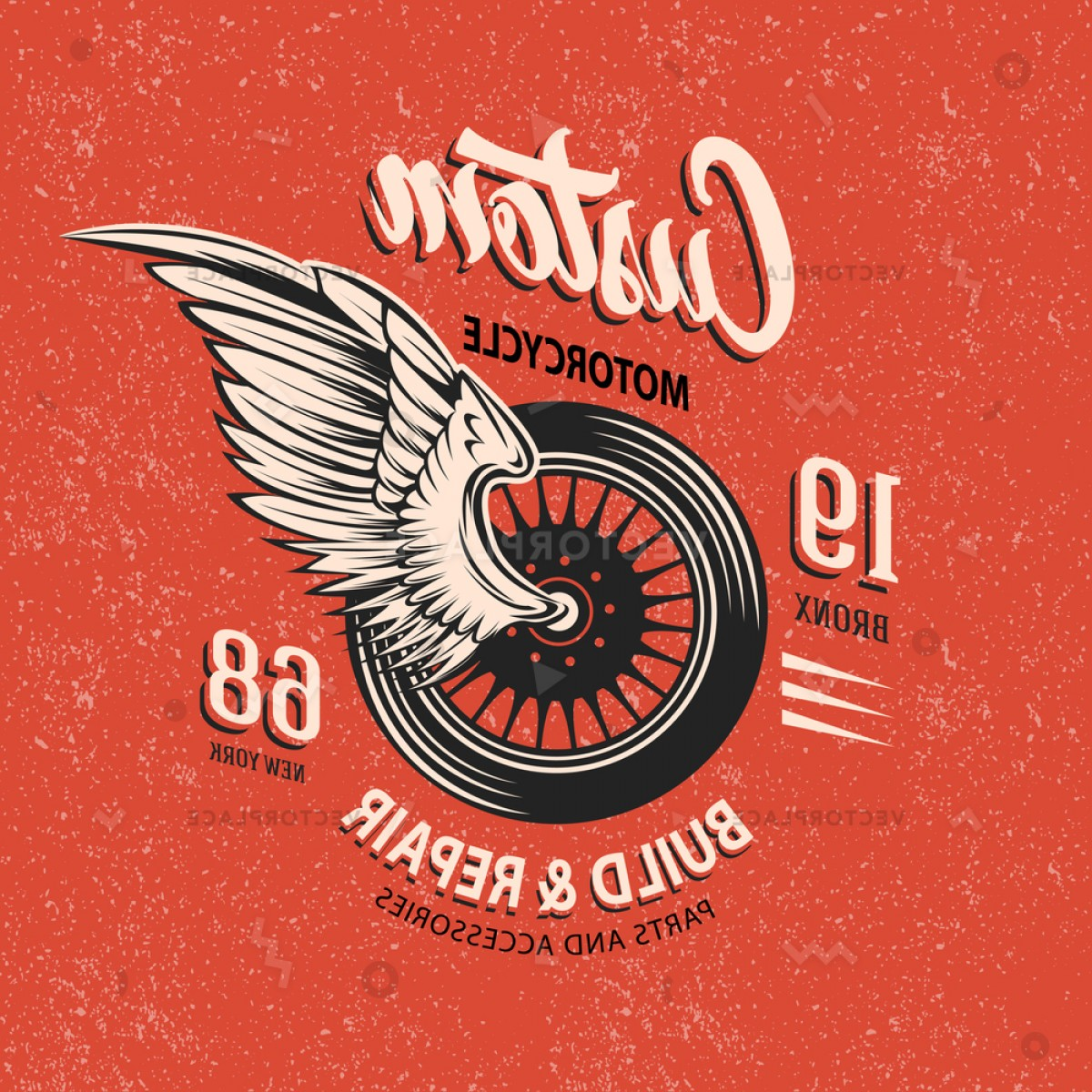 Motorcycle Club Vector: Motorcycle Club Emblem Winged Wheel White Vector Illustration