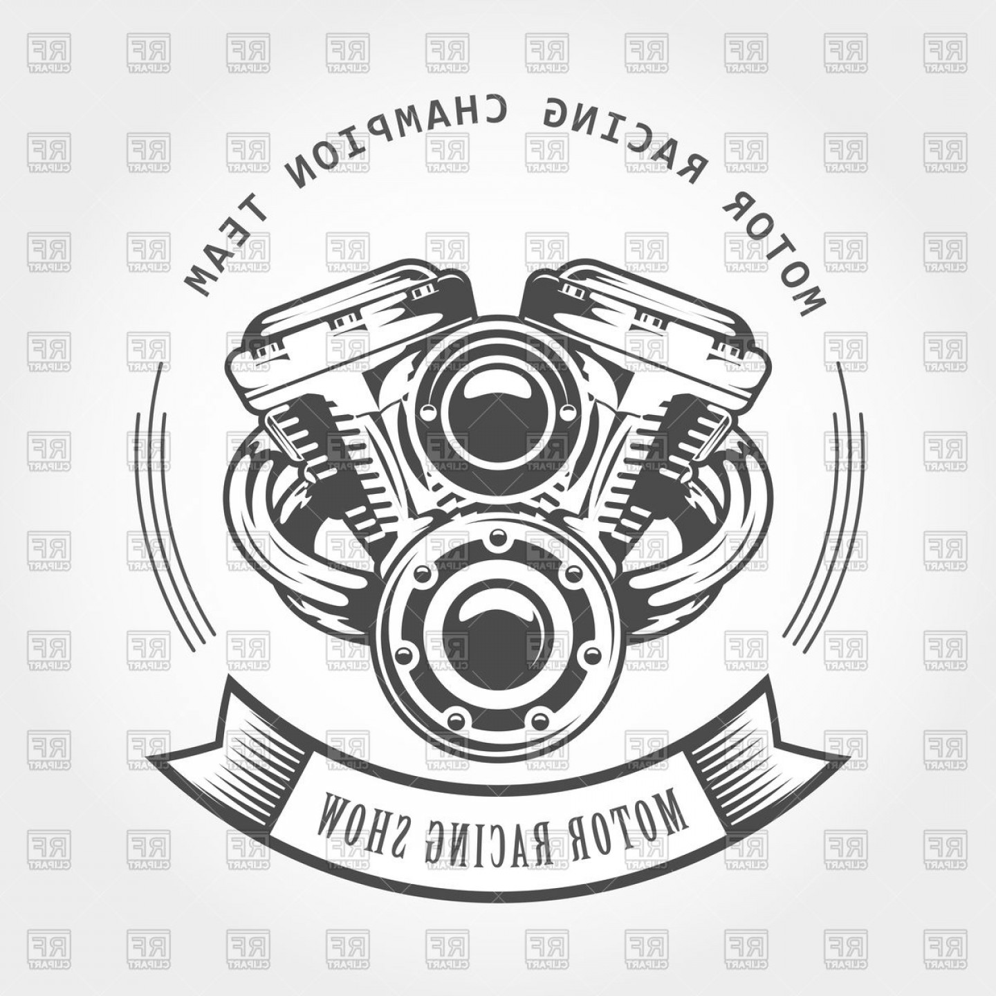 Motor Vector Graphics: Motorcycle Engine Chopper Motor Bike Show Emblem Vector Clipart