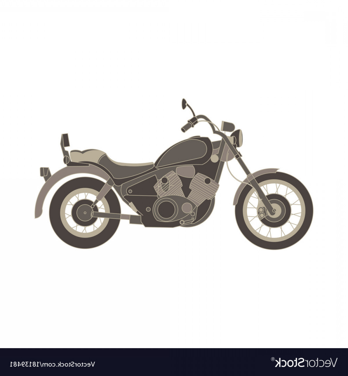Flat Vector Motorcycle: Motorcycle Flat Icon Chopper Motorbike Side View Vector