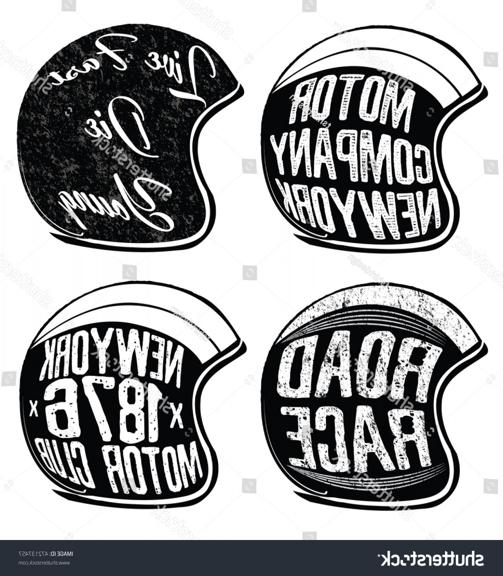 Harley -Davidson Skull Logo Vector: Motorcycle Helmet Set Vector Graphic T