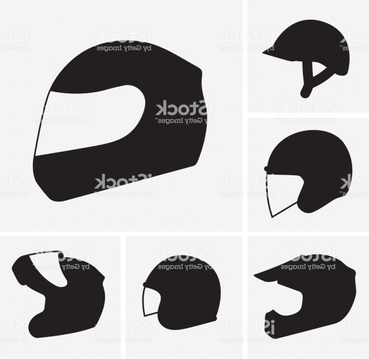 Motorcycle Helmet Vector Art: Motorcycle Helmets Vector Silhouette Gm