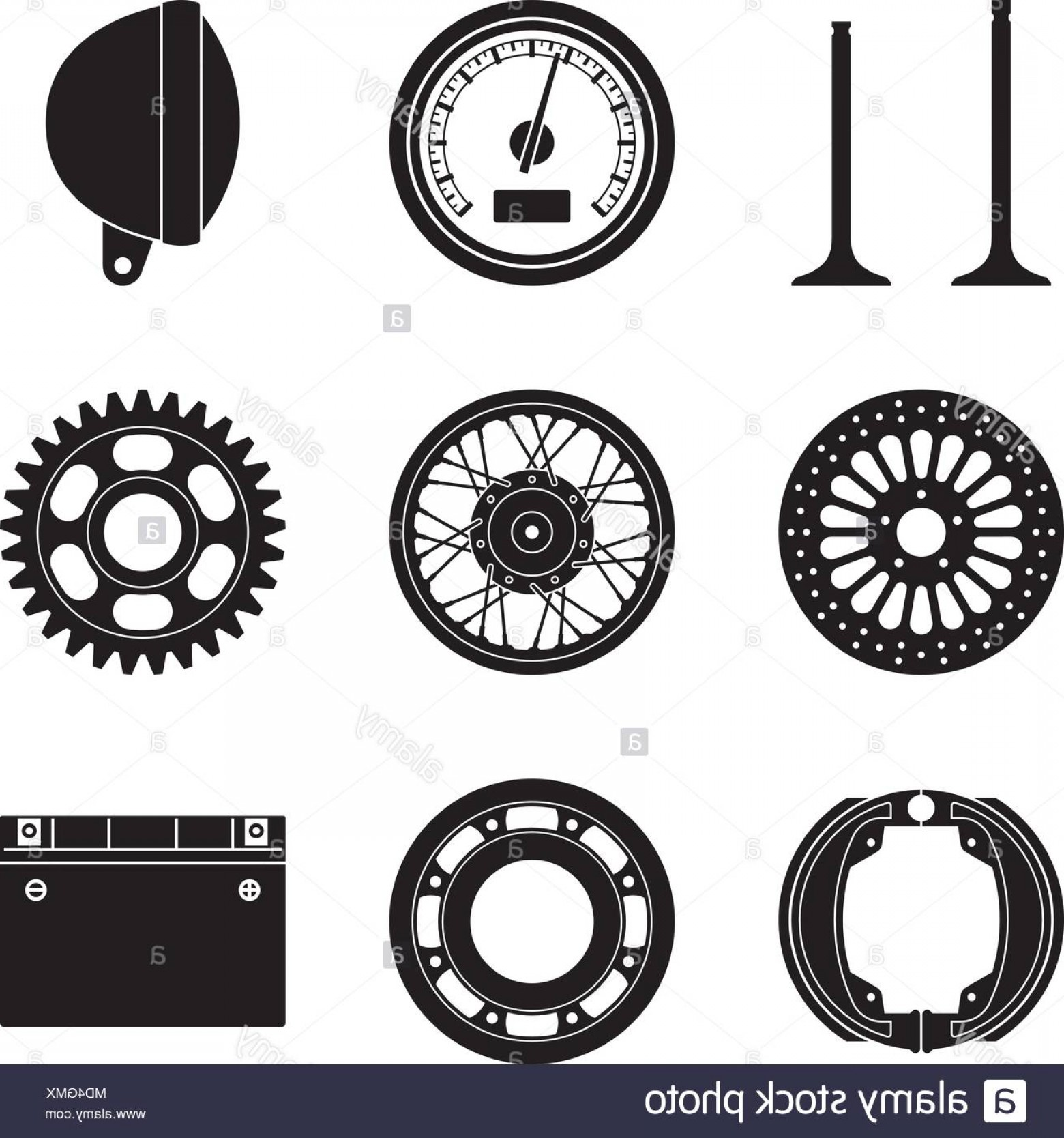 Vector Motorcycle Parts: Motorcycle Parts And Accessories Silhouette Vector Image