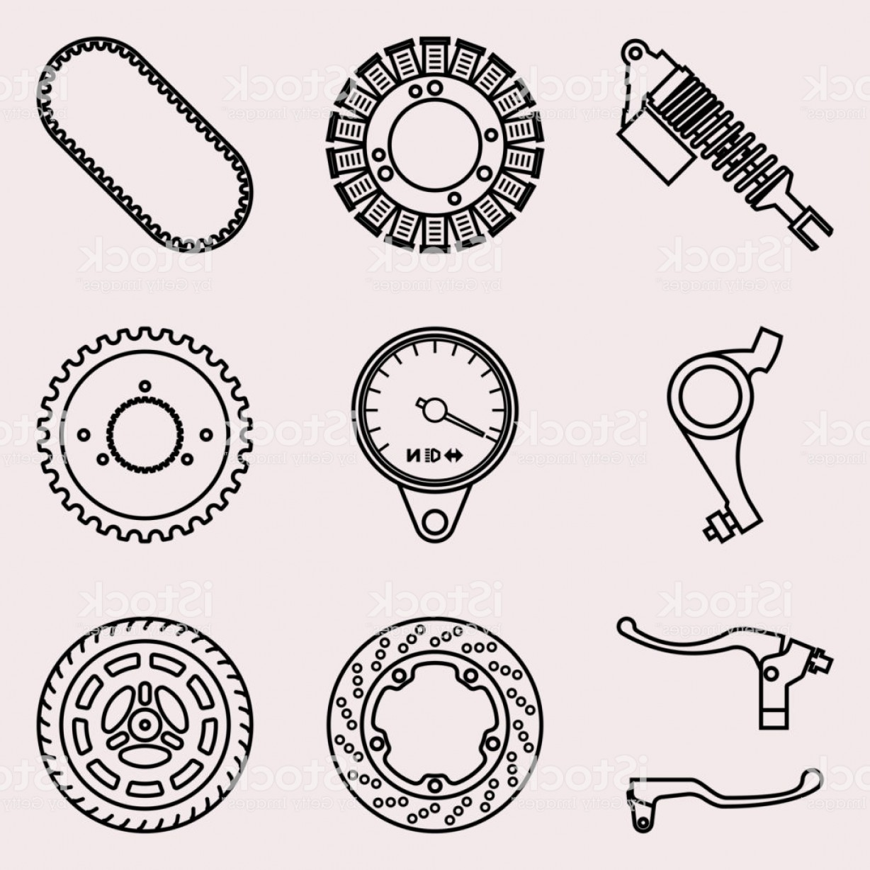 Vector Motorcycle Parts: Motorcycle Parts Icons Set Vector Thin Line Gm