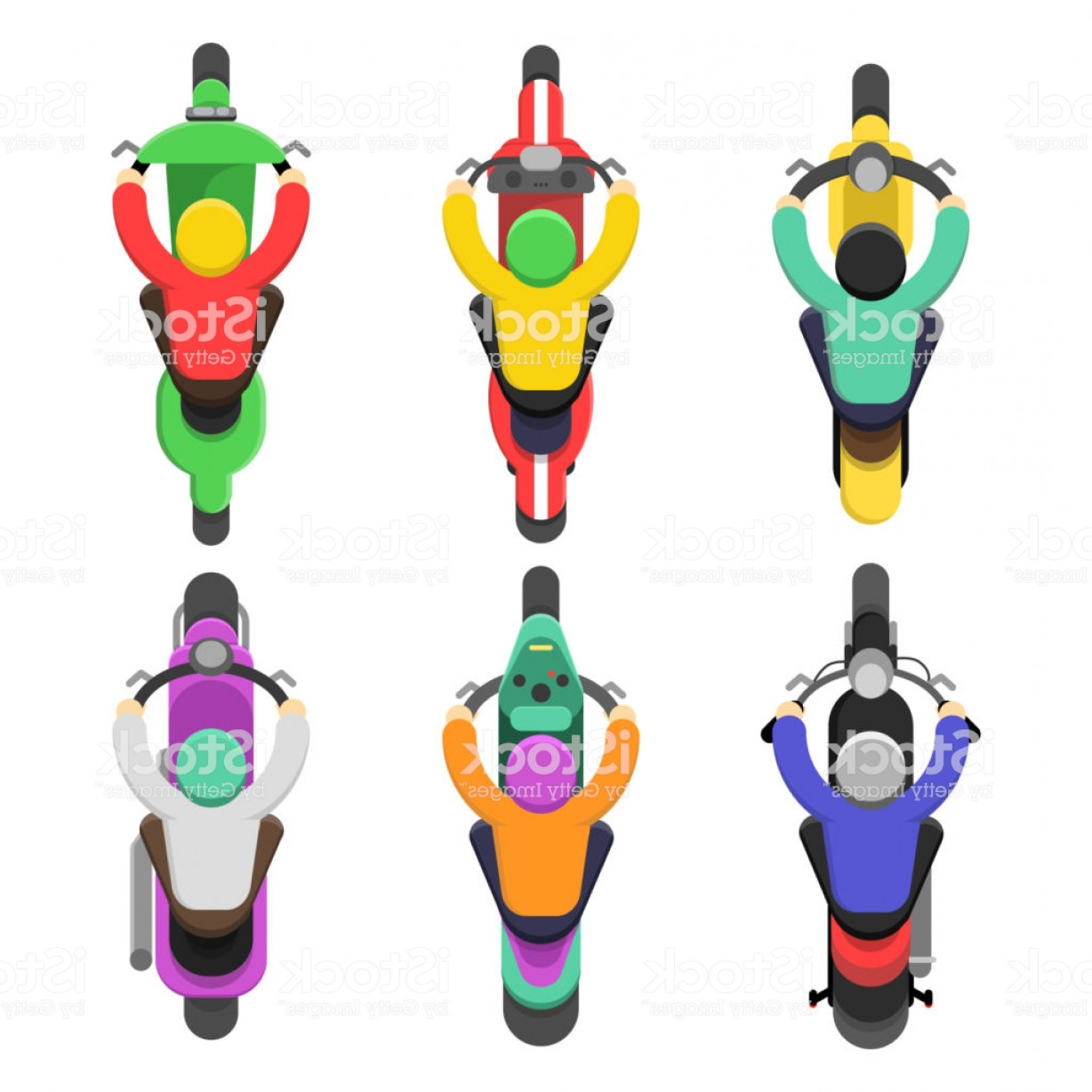 Flat Vector Motorcycle: Motorcycle Top View Topping Of Motor Bicycle With Drivers Traffic Vector Flat Gm