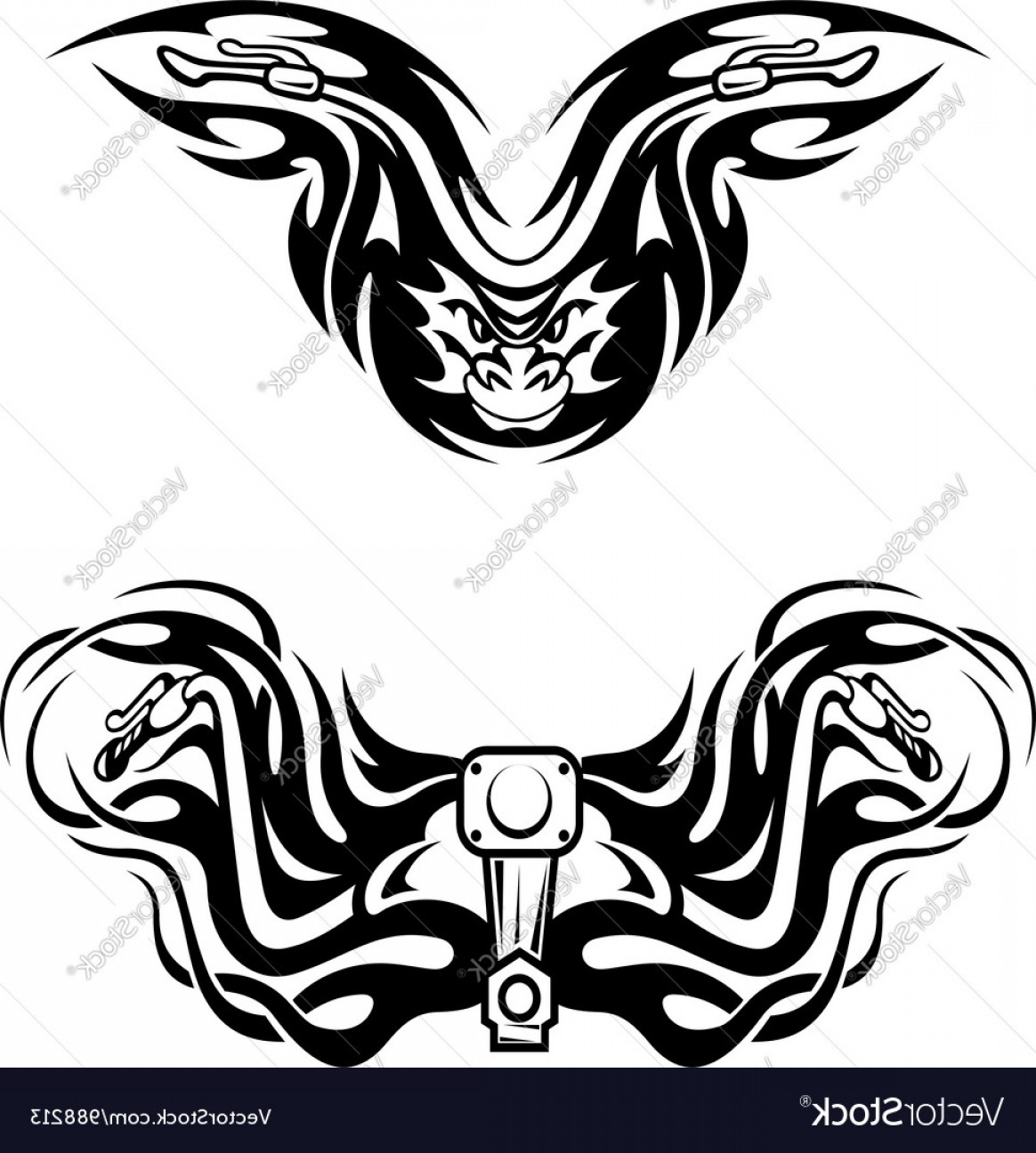 Tribal Flames Vector Car: Motorcycles Mascots With Tribal Flames Vector