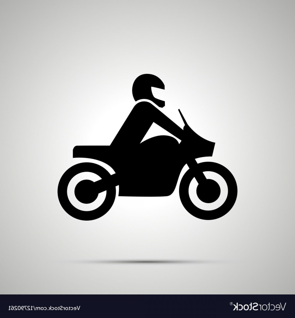 Stylized Vector Motorcycle: Motorcyclist Simple Black Icon Vector