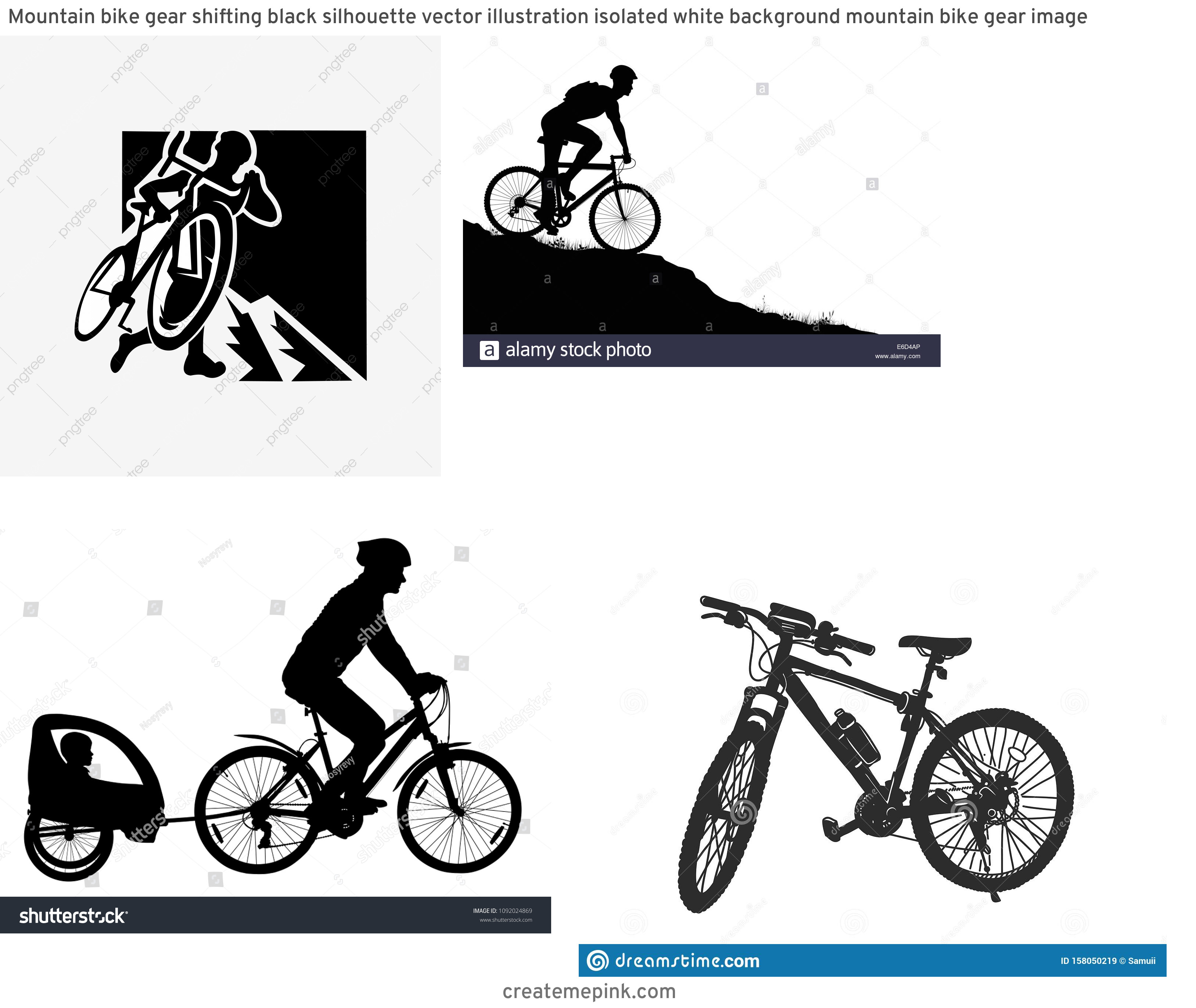 Mountain Bike Silhouette Vector: Mountain Bike Gear Shifting Black Silhouette Vector Illustration Isolated White Background Mountain Bike Gear Image