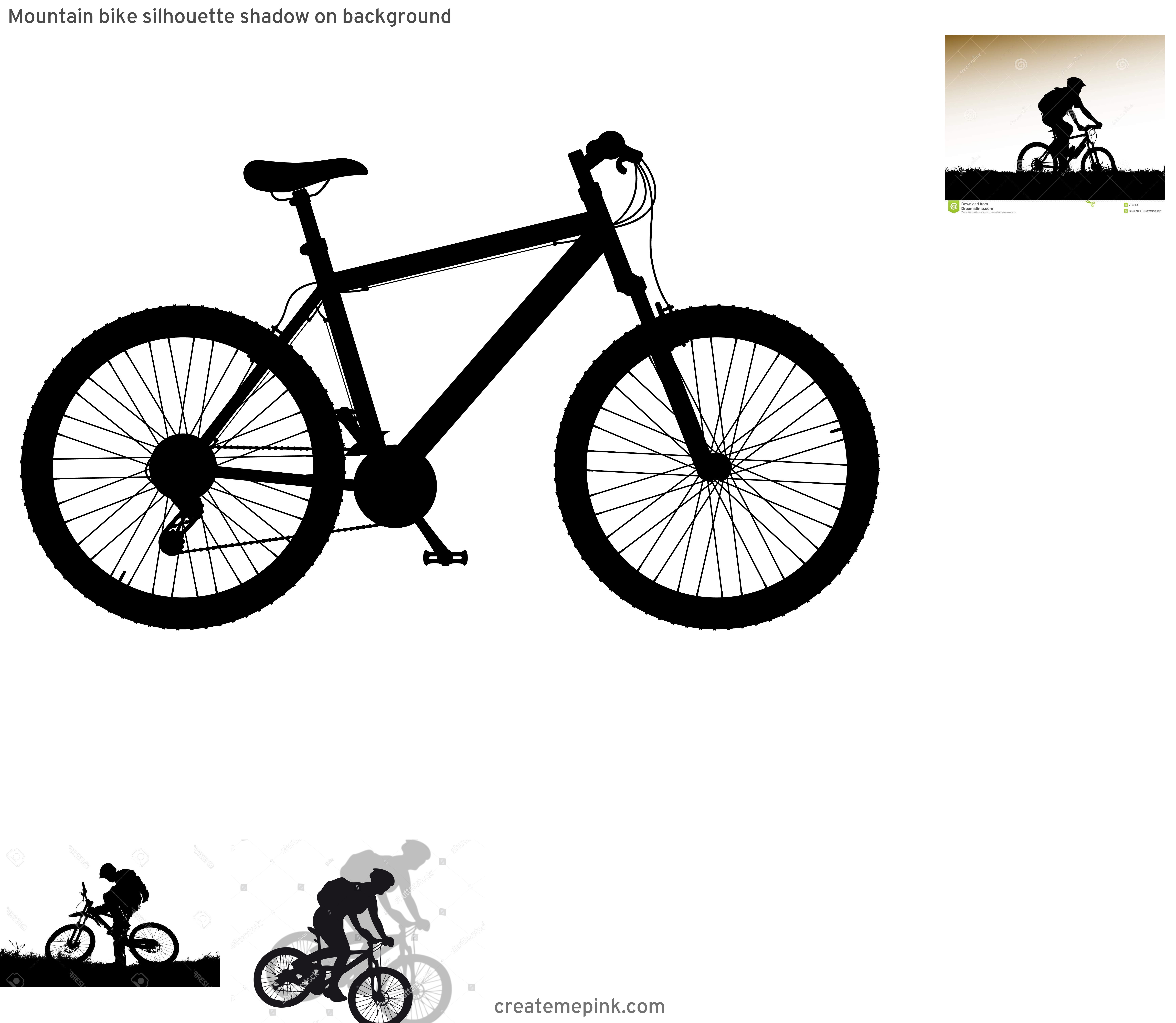 Mountain Bike Silhouette Vector: Mountain Bike Silhouette Shadow On Background