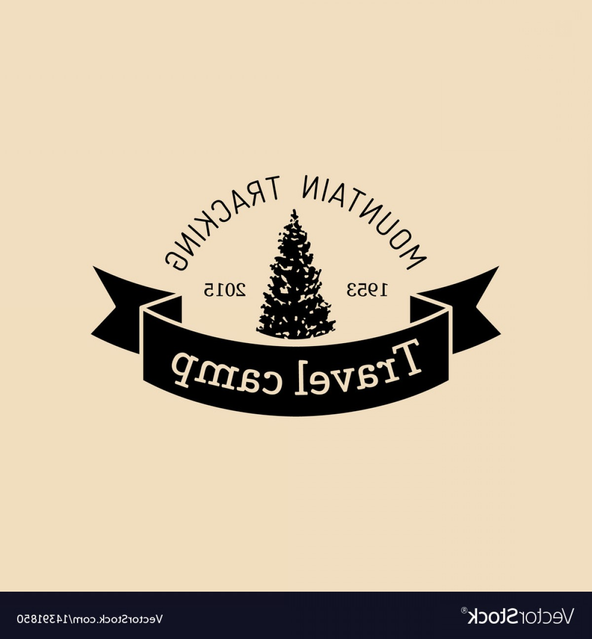 Hipster Logo Vectors Mountain: Mountain Camp Logo Tourist Sign With Hand Vector