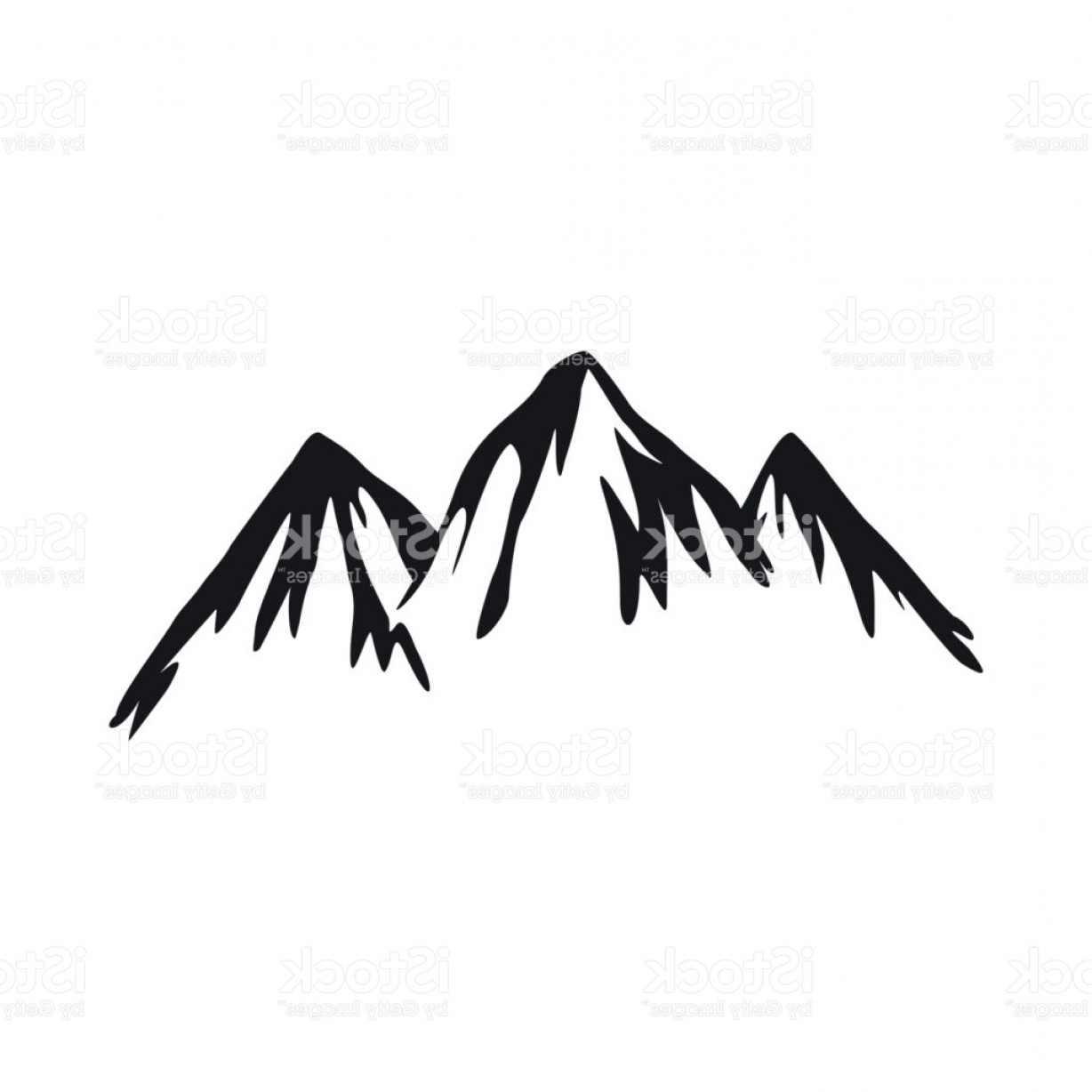 Rocky Mountain Line Art Vector: Mountain Icon In Simple Style Gm