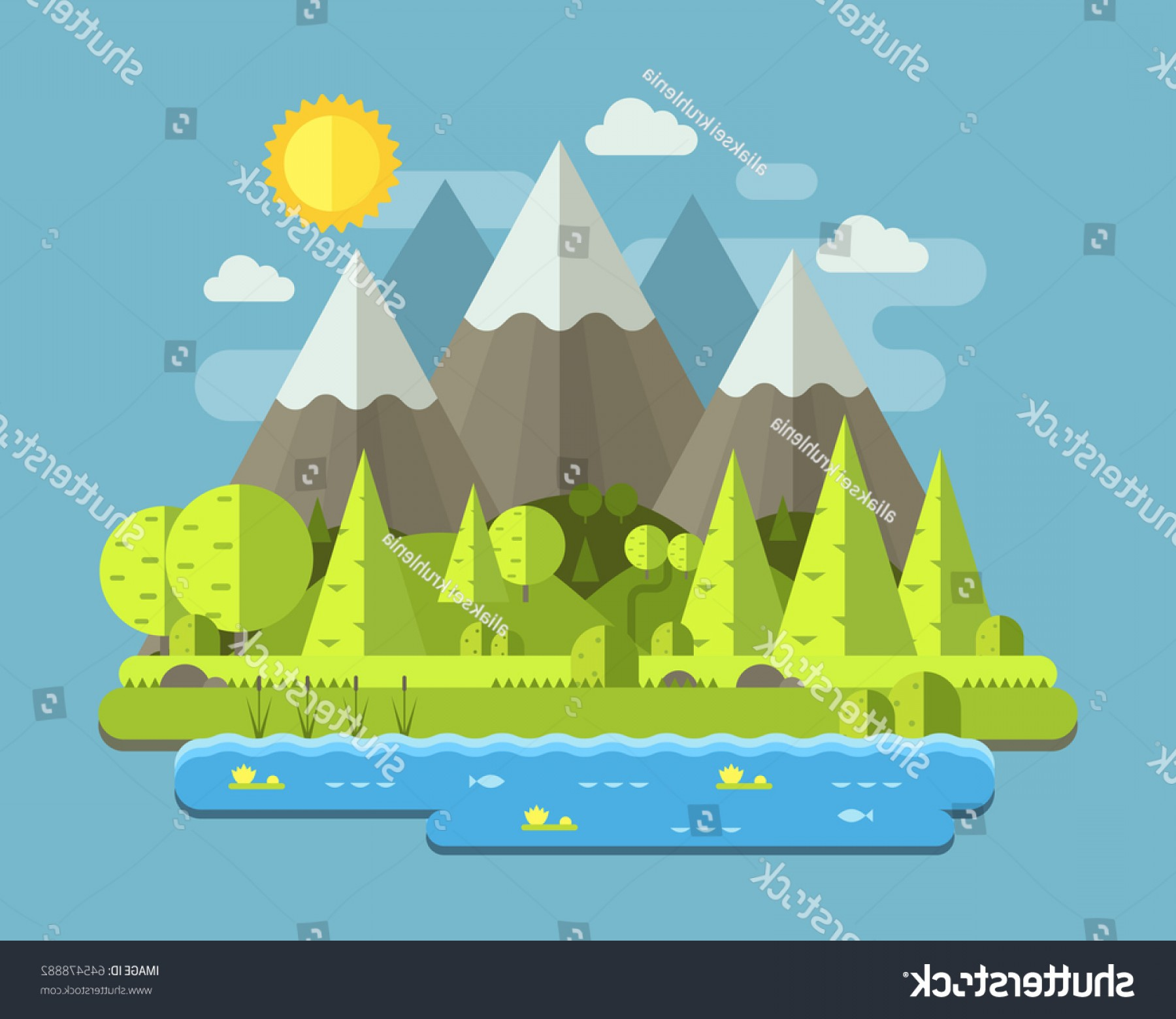 Flat Vector Art And Abstract Forest: Mountain Lake Forest Landscape Peaks Wood