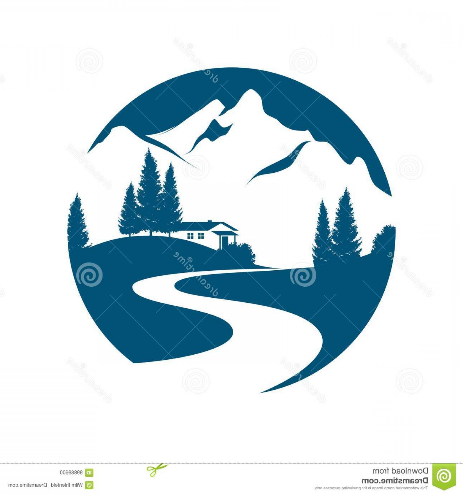 Creek Vector: Mountain Landscape Pictogramm Vector Pictogram Alpine Creek Road Cottage Firs Image