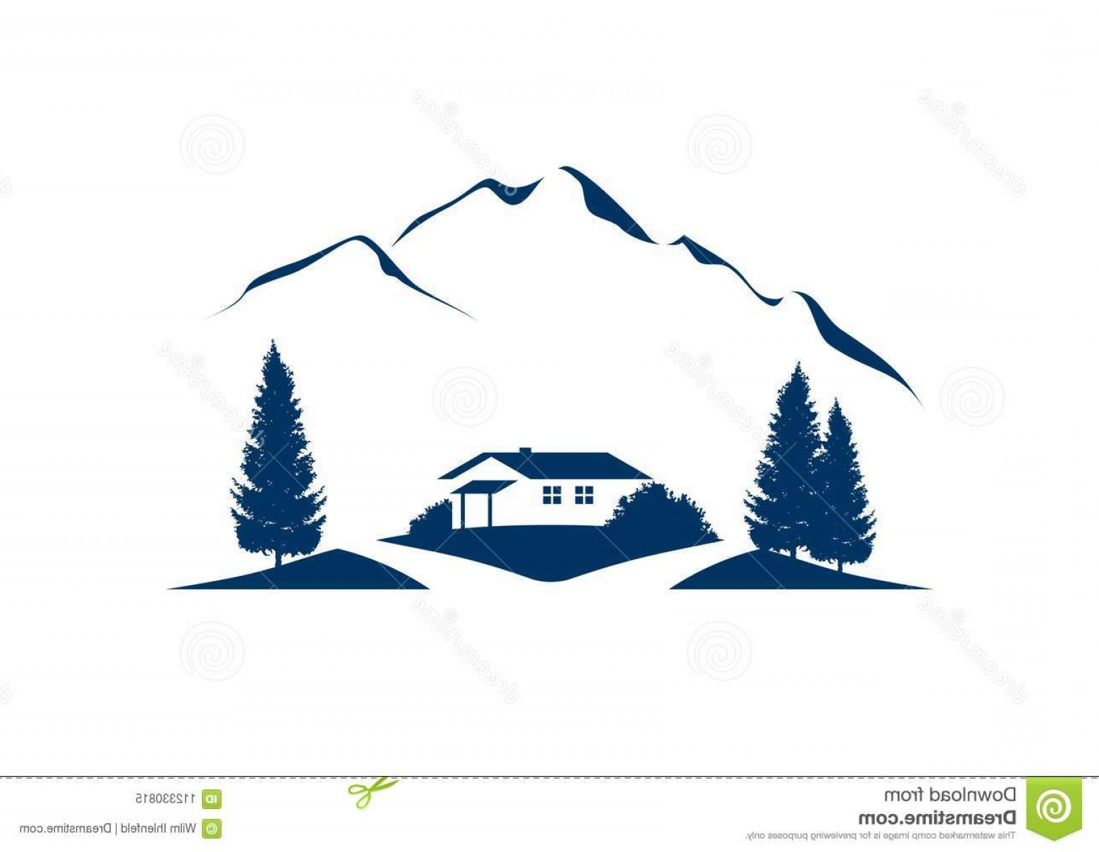 Vector Art Mountains Trees Colorado: Mountain Landscape Vector Icon Cottage Trees Rural Illustration Firs Image