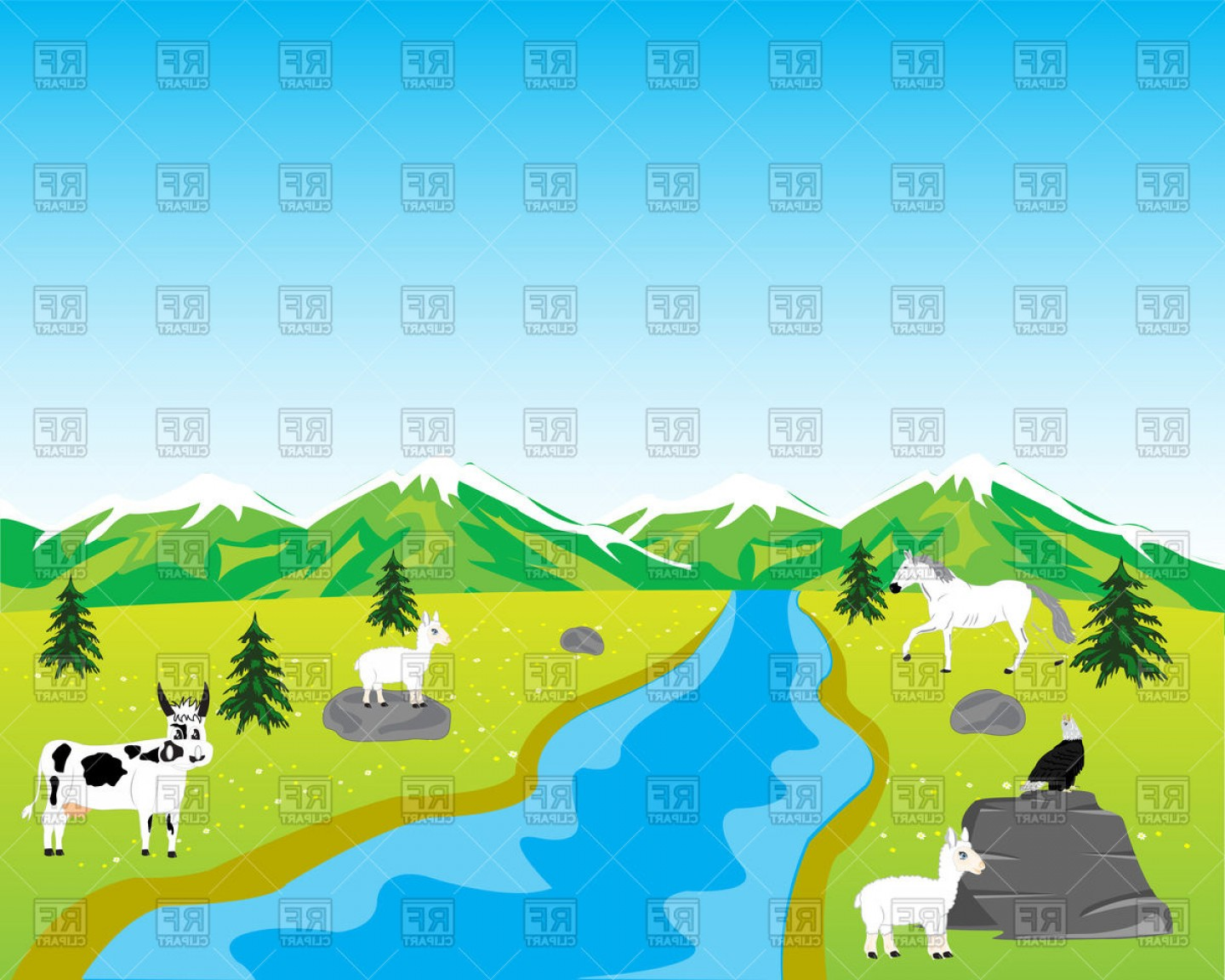 River Vector Art: Mountain Landscape With River And Animals Vector Clipart