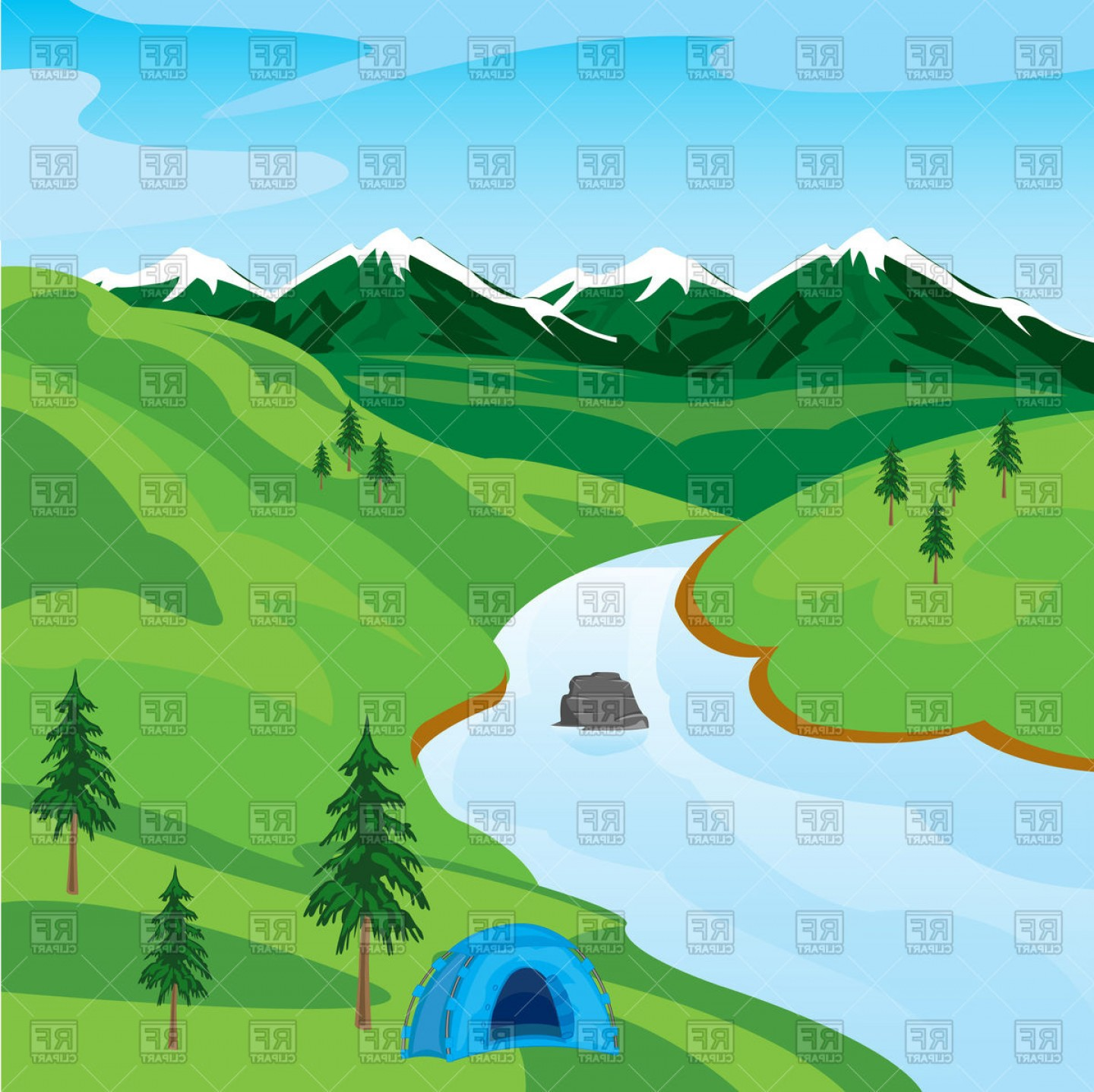 River Silhouette Vector Art: Mountain Landscape With River Vector Clipart