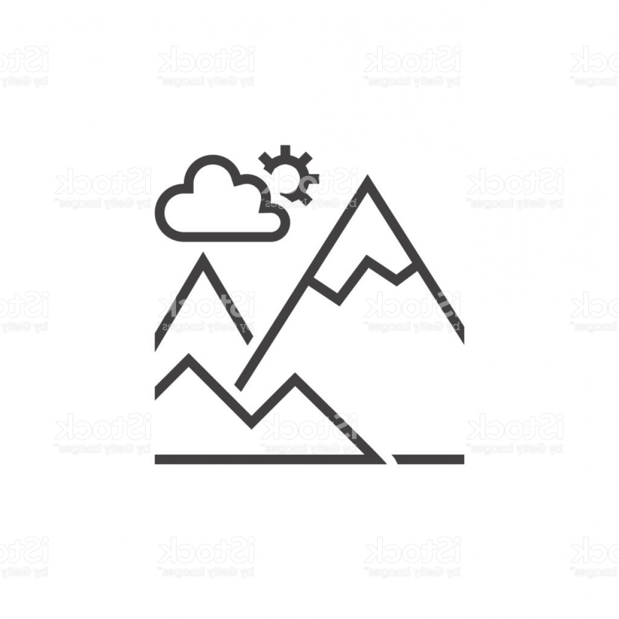 Rocky Mountain Line Art Vector: Mountain Line Icon Outline Terrain Vector Logo Linear Pictogram Isolated On White Gm